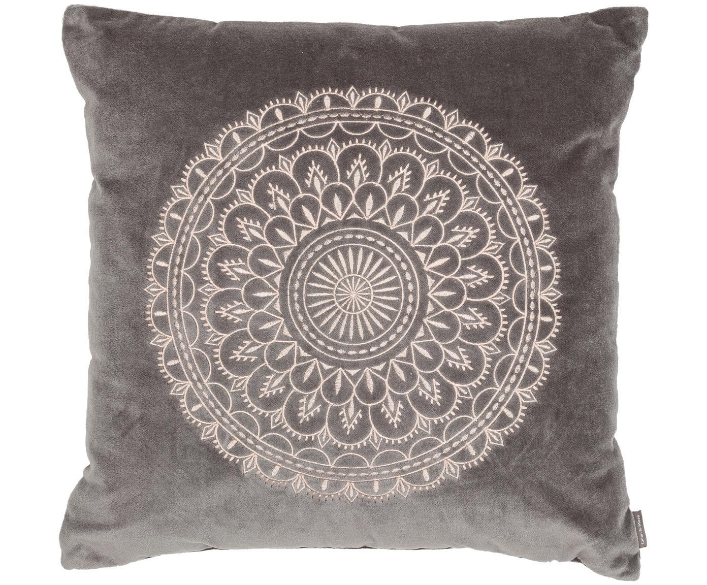 Cuscino in velluto ricamato Preston, Grigio, crema, Larg. 45 x Lung. 45 cm