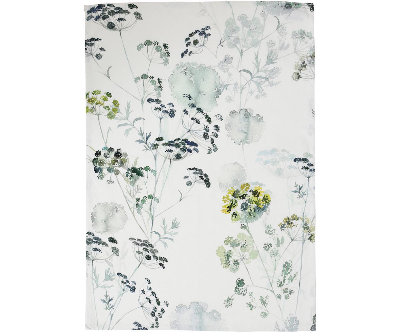 Theedoeken Herbier, 2 stuks, Katoen, Wit, groen, 50 x 70 cm