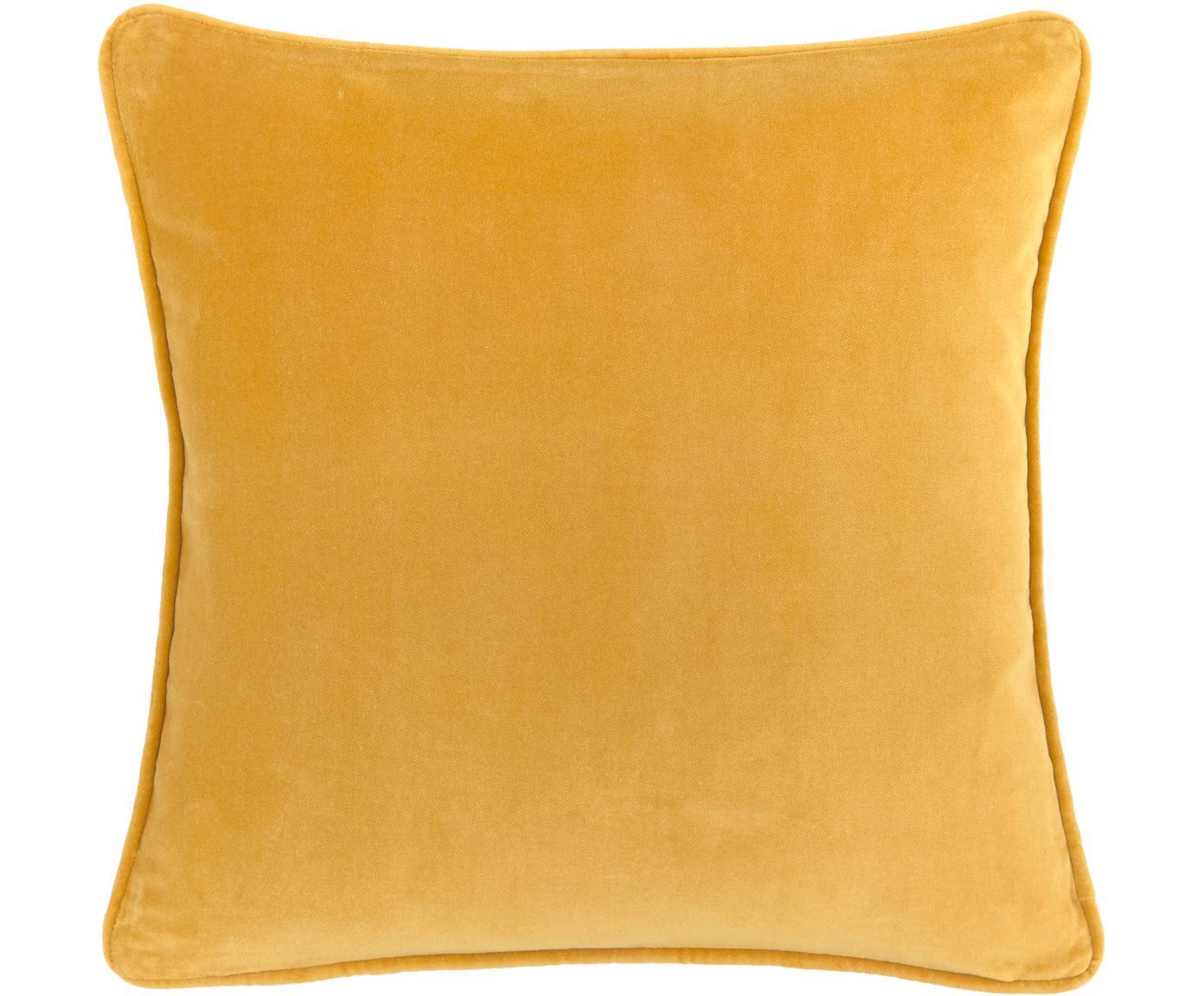 Poszewka na poduszkę z aksamitu Dana, Aksamit bawełniany, Ochrowy, S 40 x D 40 cm