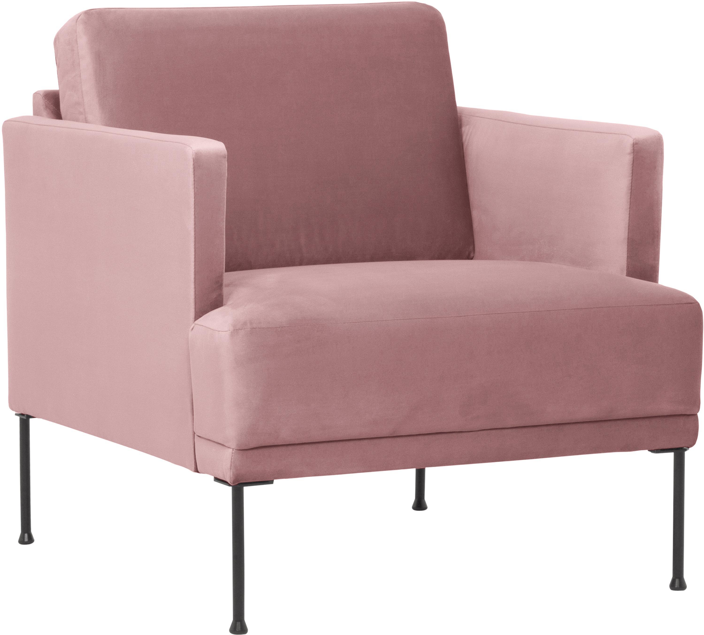 Fotel z aksamitu Fluente, Tapicerka: aksamit (wysokiej jakości, Stelaż: lite drewno sosnowe, Nogi: metal malowany proszkowo, Aksamitny blady różowy, S 74 x G 85 cm
