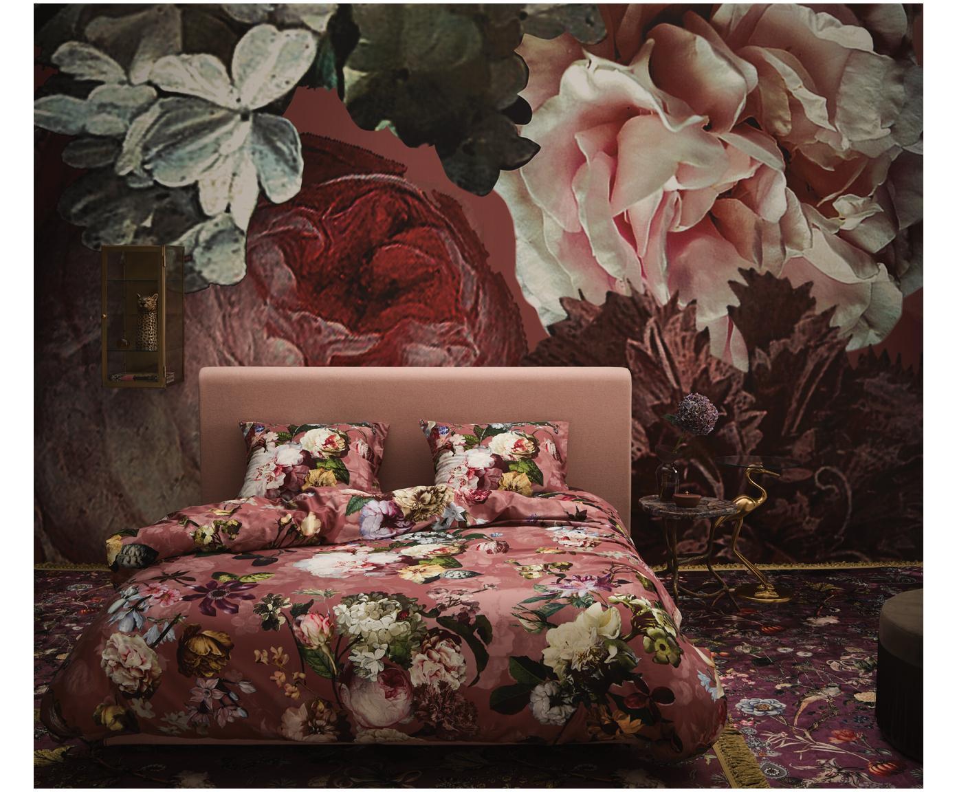 Katoenen dekbedovertrek Fleur, Weeftechniek: satijn Draaddichtheid 209, Oudroze, 260 x 220 cm