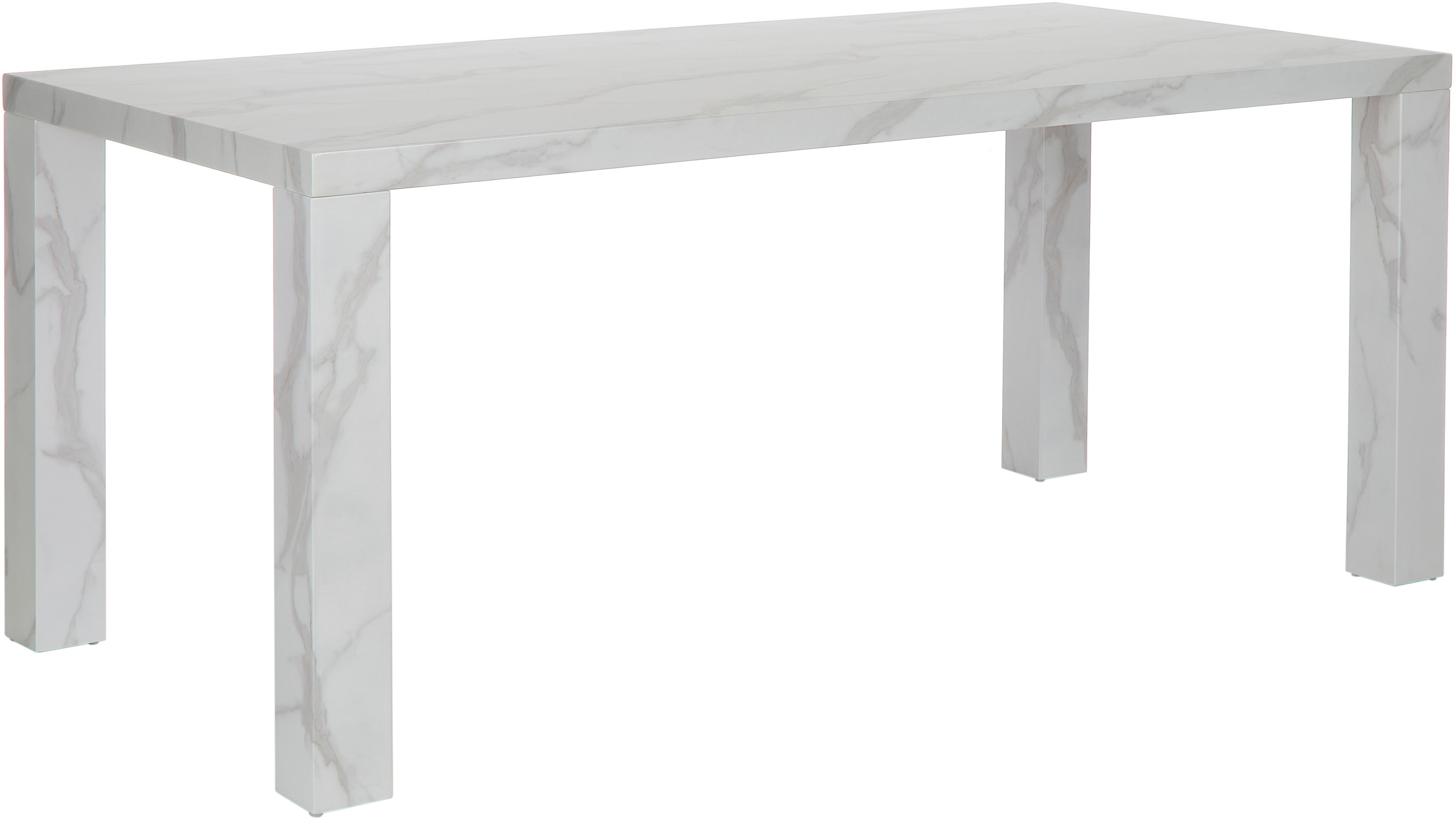 Mesa de comedor Carl, Tablero de fibras de densidad media(MDF), recubierto en melanina, Blanco veteado, brillante, An 180 x F 90 cm