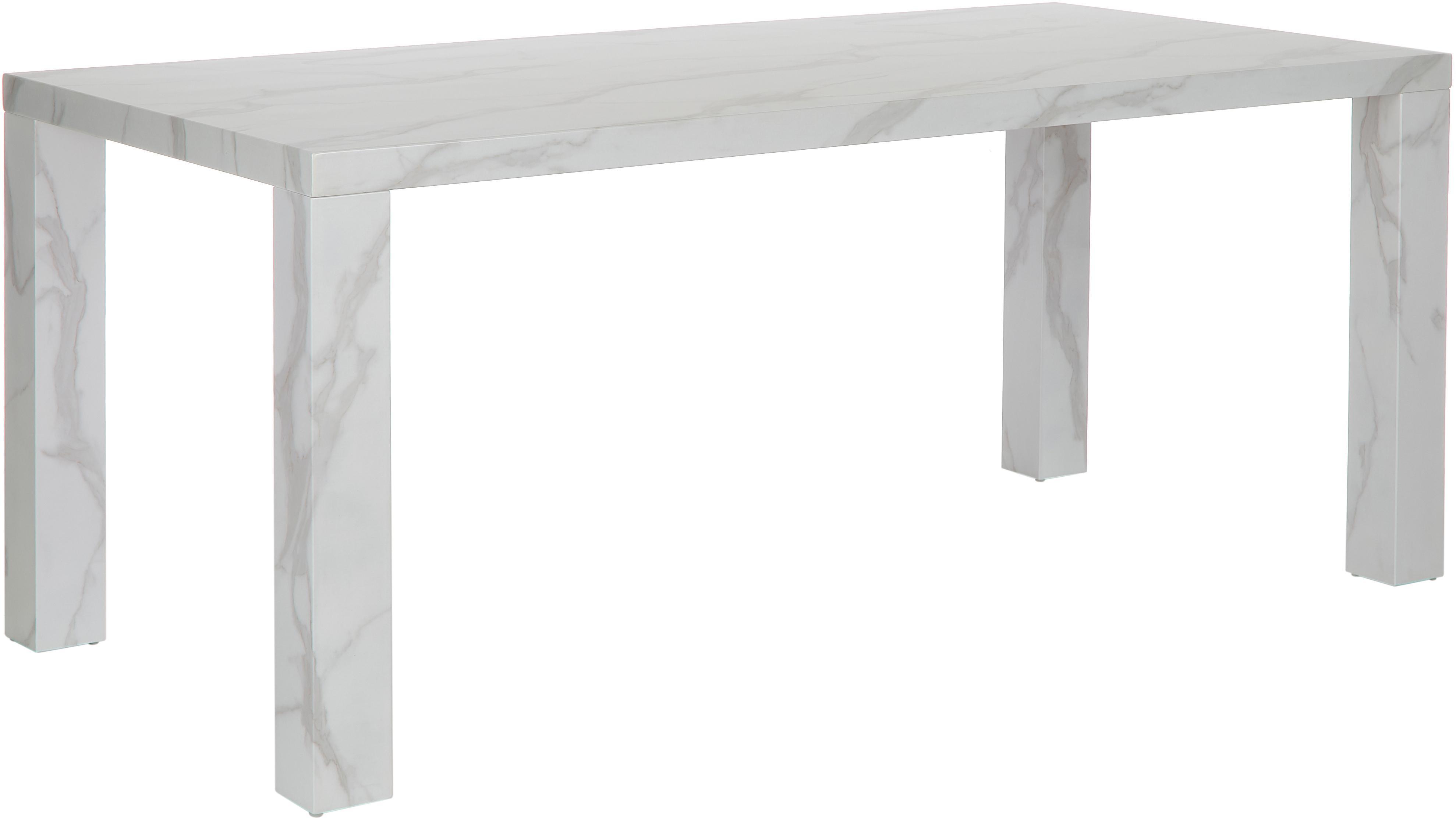 Tavolo effetto marmo Carl, Pannello di fibre a media densità (MDF) rivestito con carta effetto marmo laccata, Bianco marmorizzato, lucido, Larg. 180 x Prof. 90 cm