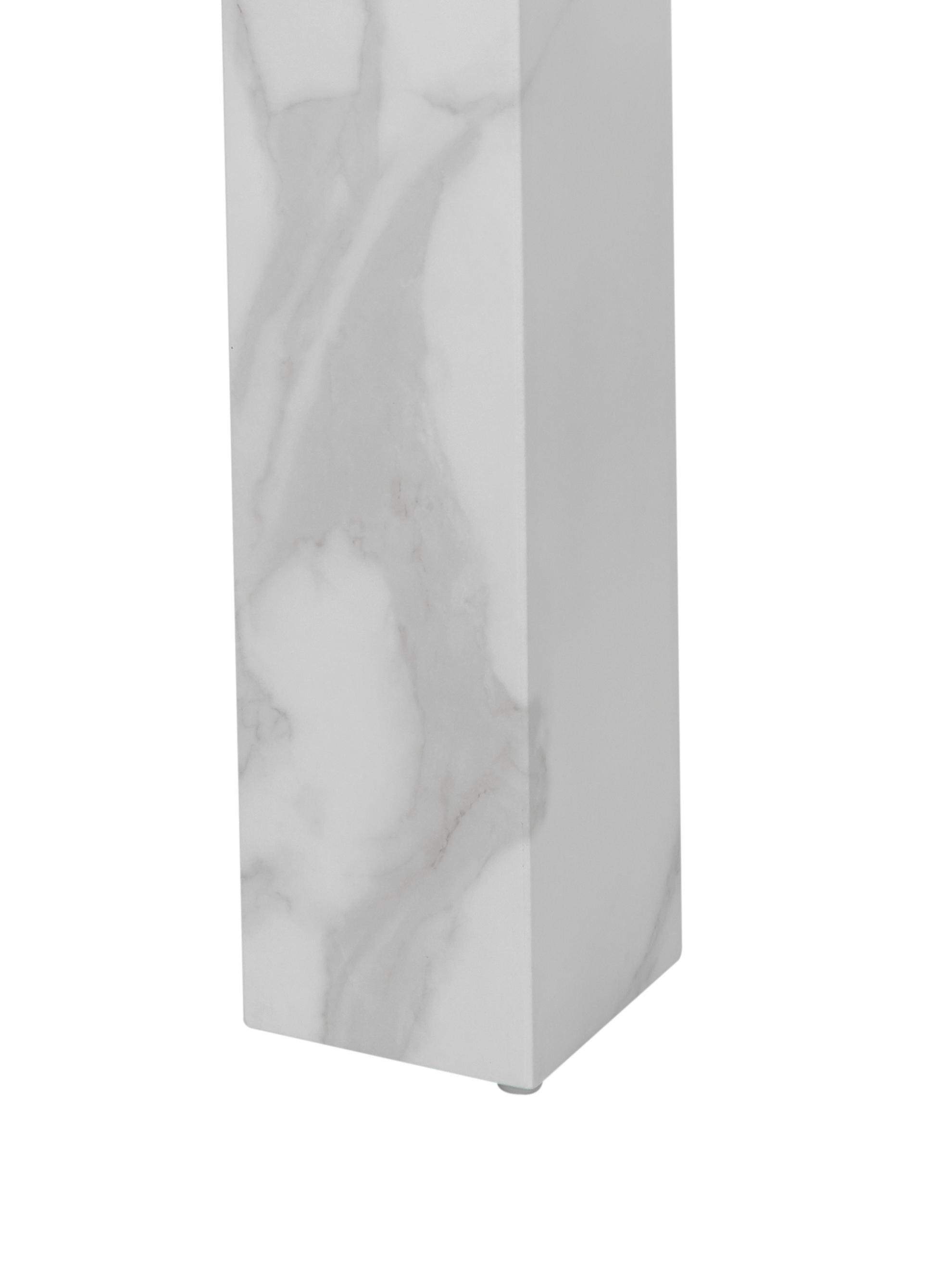 Table blanche aspect marbre Carl, Blanc marbré, brillant