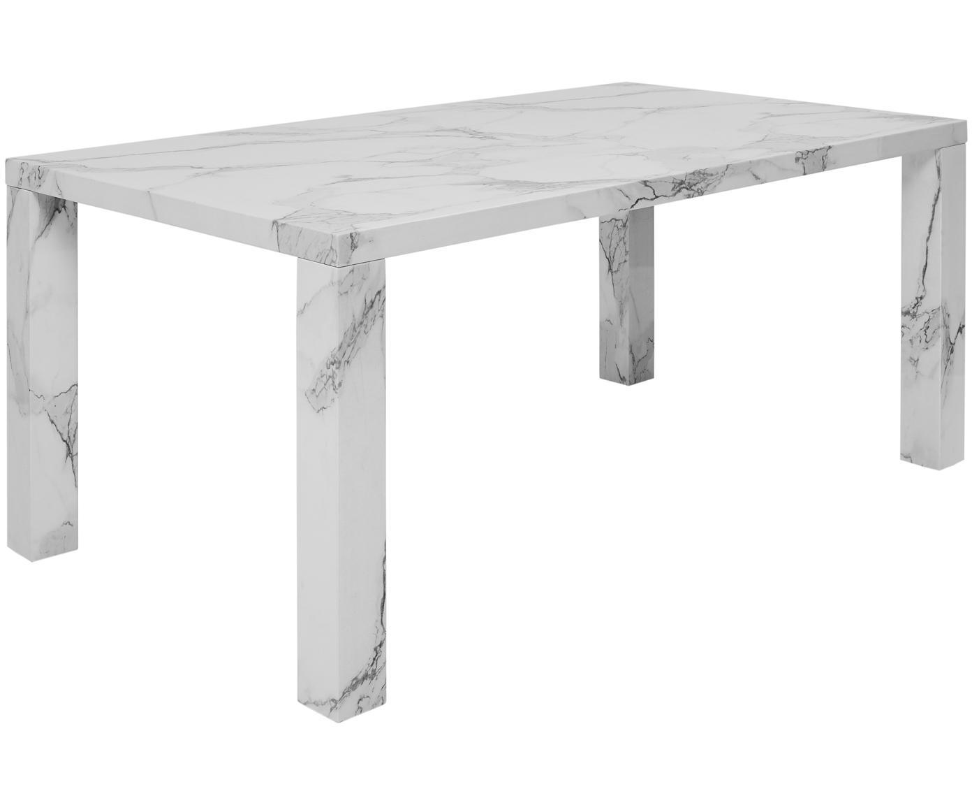 Esstisch Carl in Marmor-Optik, Mitteldichte Holzfaserplatte (MDF), mit lackbeschichtetem Papier in Marmoroptik überzogen, Weiß marmoriert, glänzend, B 180 x T 90 cm