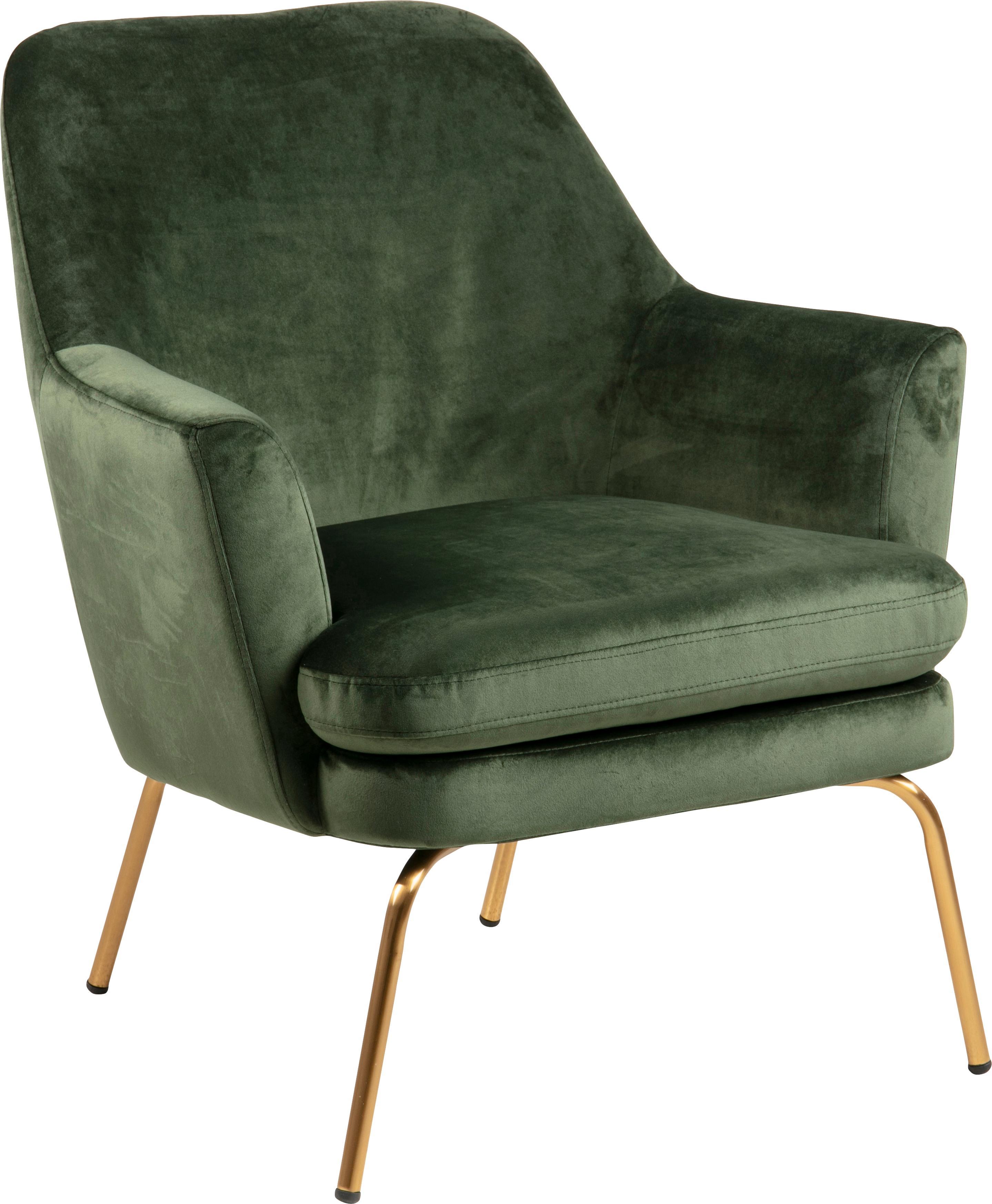 Fluwelen fauteuil Chisa, Bekleding: polyester fluweel, Poten: gelakt metaal, Fluweel bosgroen, B 74 x D 73 cm