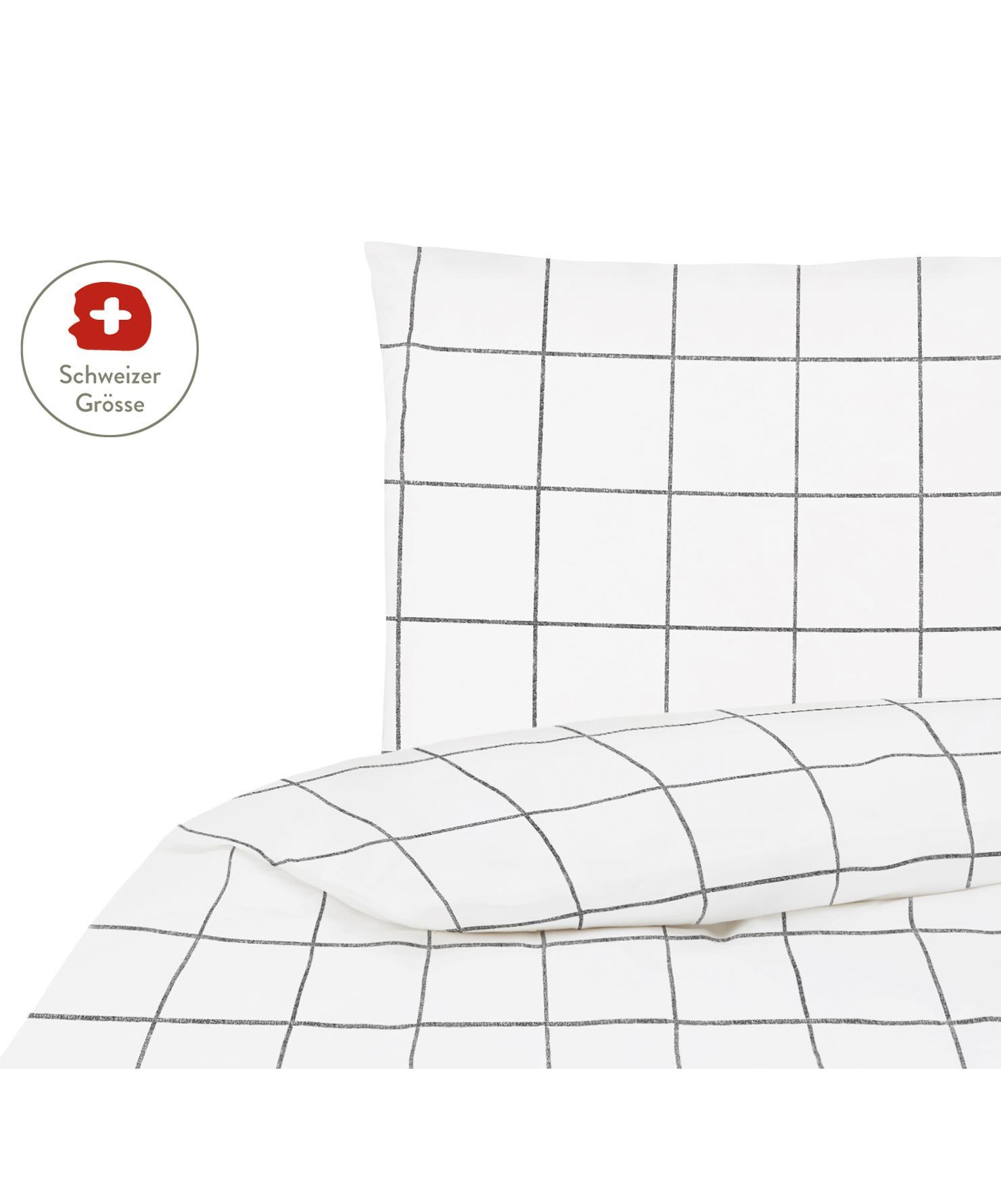 Karierter Baumwollperkal-Bettdeckenbezug Juna, Webart: Perkal Fadendichte 180 TC, Weiss, Schwarz, 160 x 210 cm
