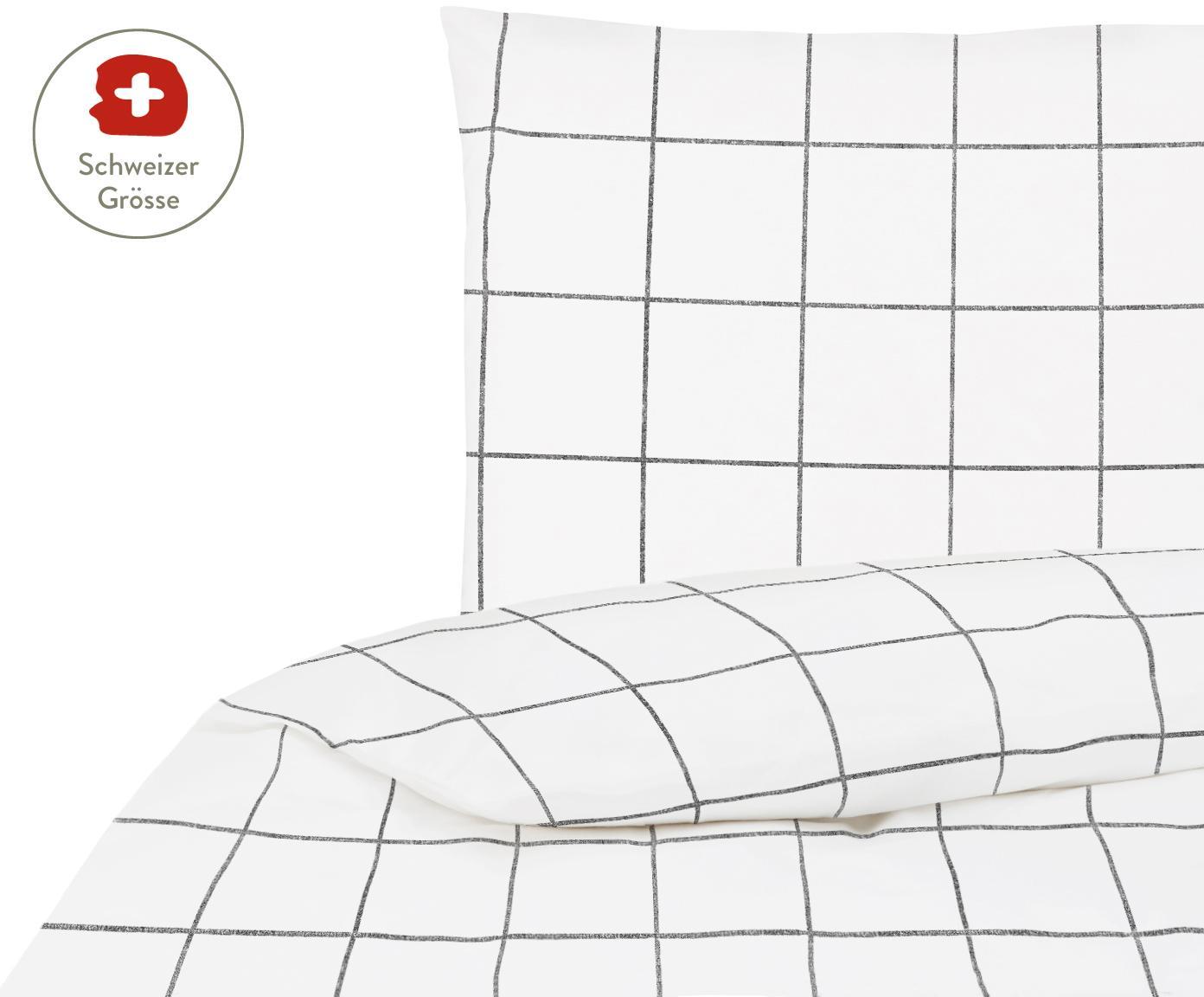 Karierter Baumwollperkal-Duvetbezug Juna, Webart: Perkal Fadendichte 180 TC, Weiss, Schwarz, 160 x 210 cm
