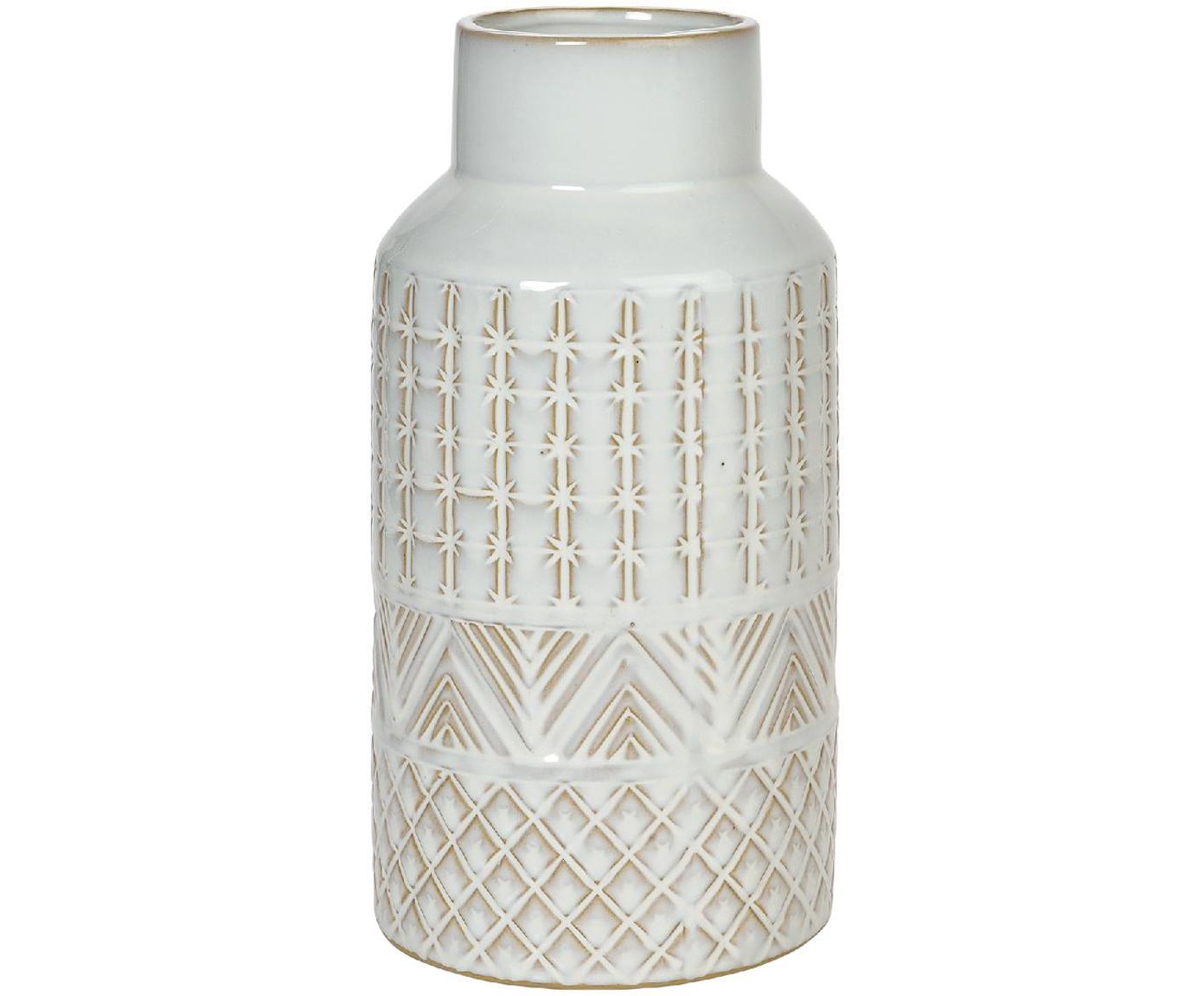Keramik-Vase Mimic, Keramik, Weiß, Beige, Ø 13 x H 27 cm