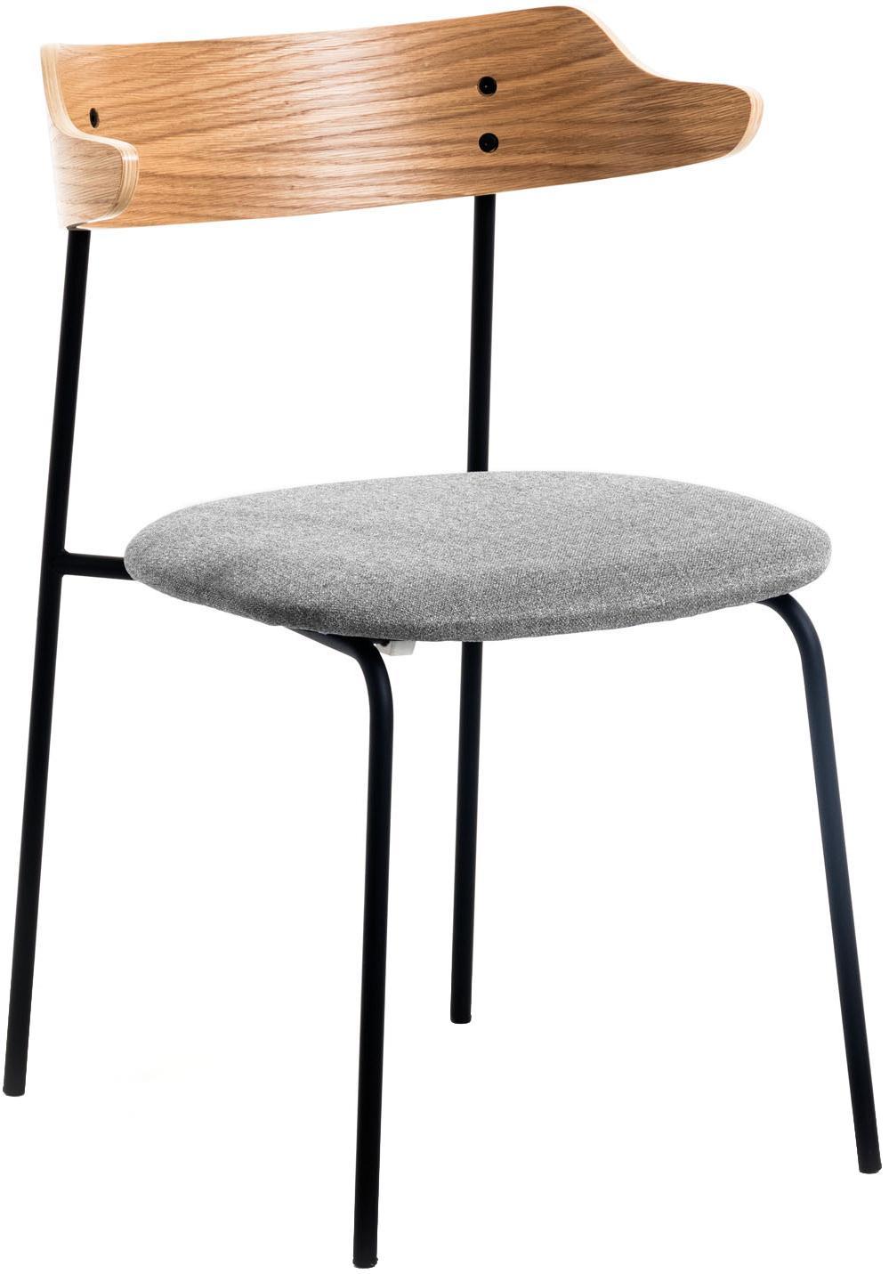 Krzesło tapicerowane Olympia, 2 szt., Szary, drewno dębowe, S 52 x G 49 cm