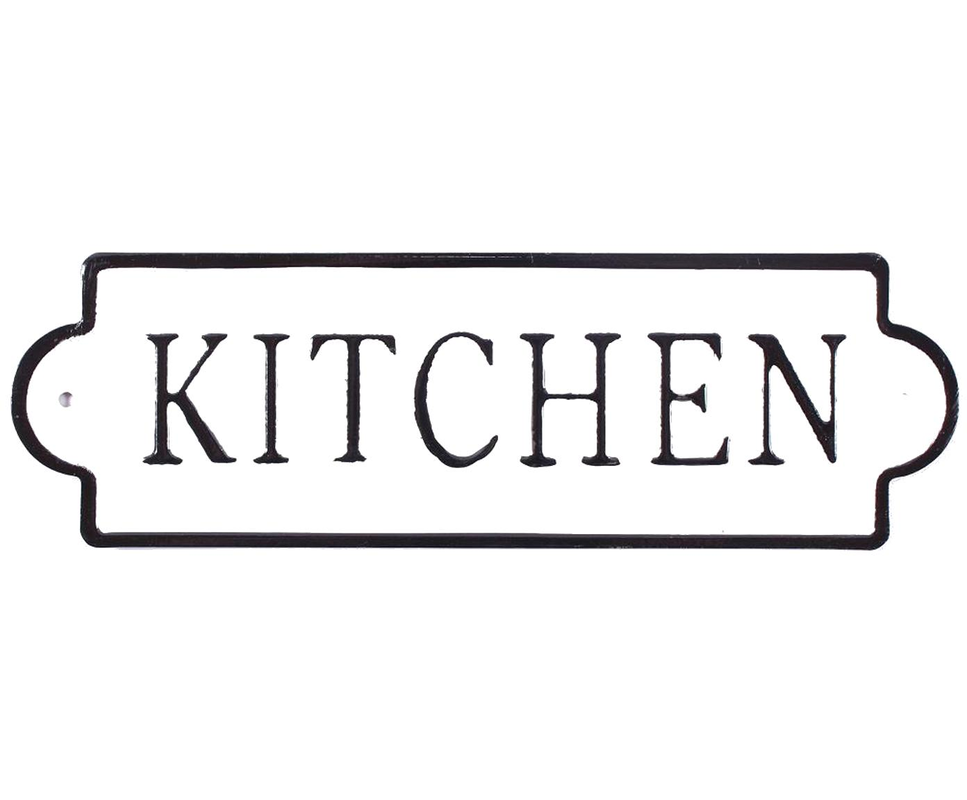 Wandbord Kitchen, Metaal, met motieffolie bekleed, Wit, zwart, 26 x 8 cm