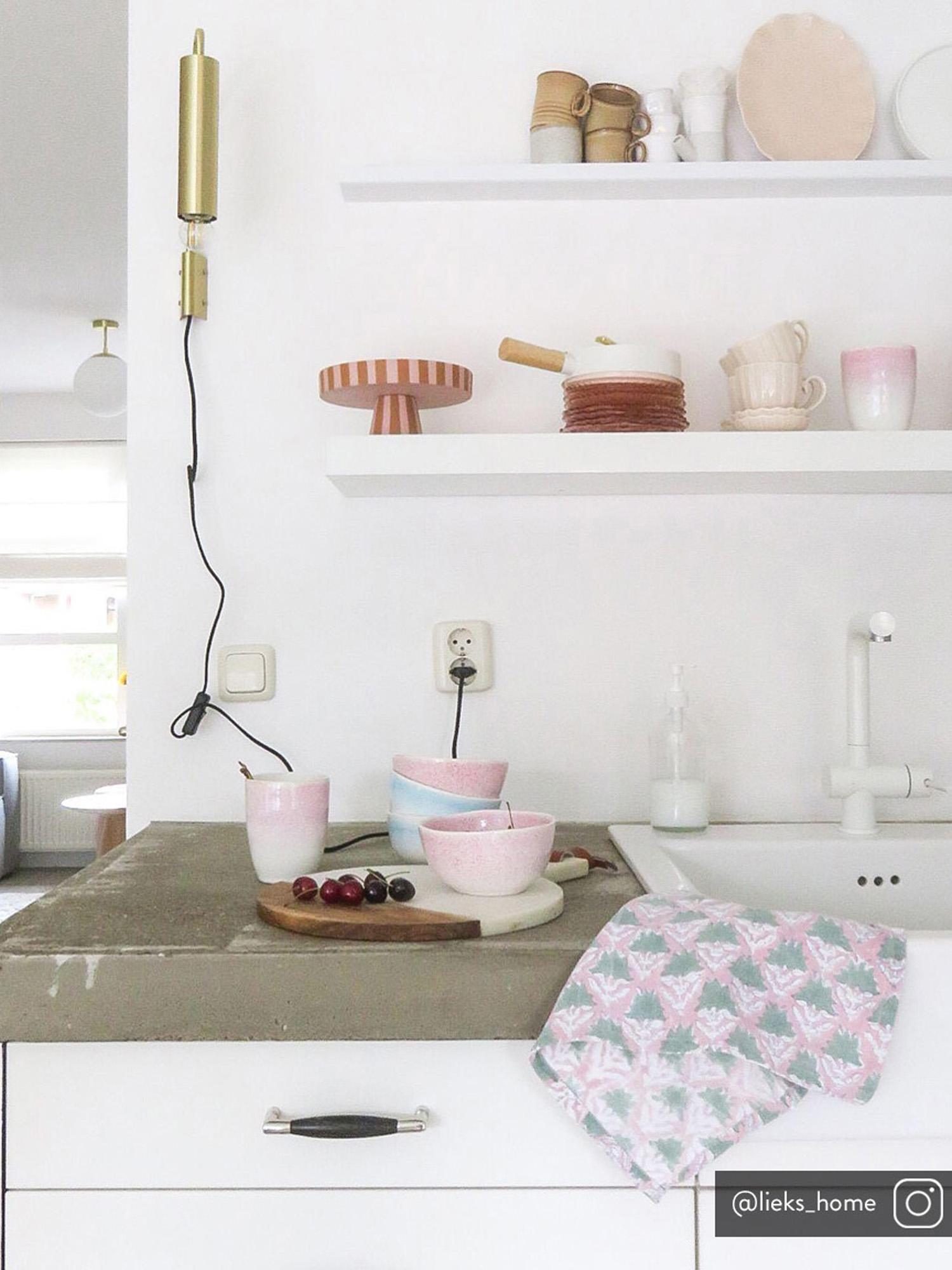 Bols artisanaux Amalia, 2 pièces, Rose pastel, blanc crème