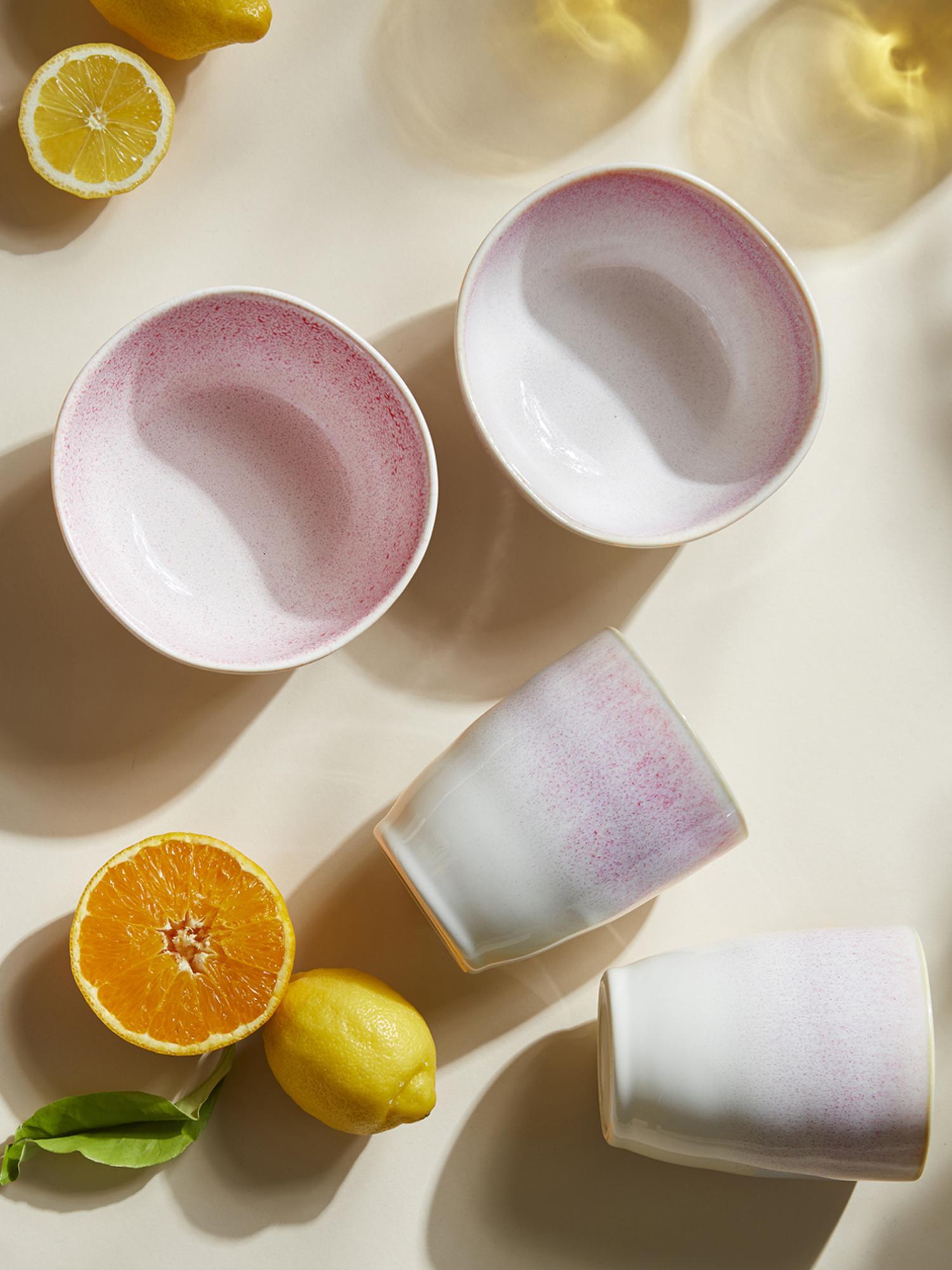 Handgemaakte schalen Amalia, 2 stuks, Keramiek, Lichtroze, crèmewit, Ø 14 x H 7 cm