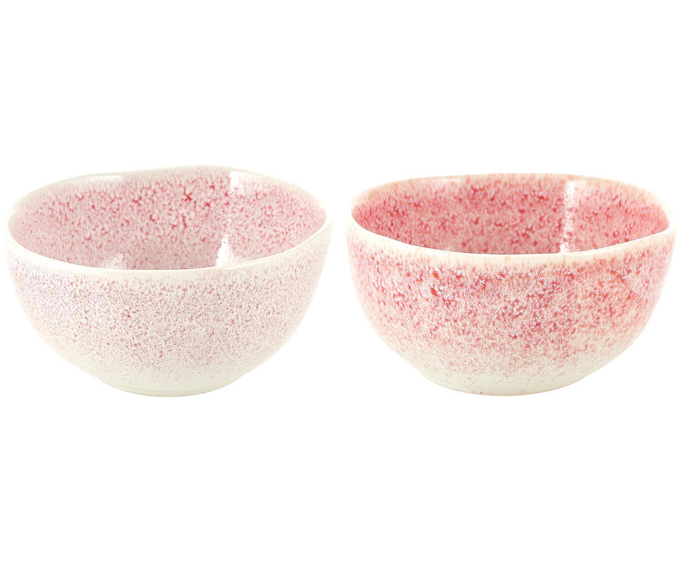 Boles artesanales Amalia, 2uds., Cerámica, Rosa pálido, blanco crema, Ø 14 x Al 7 cm