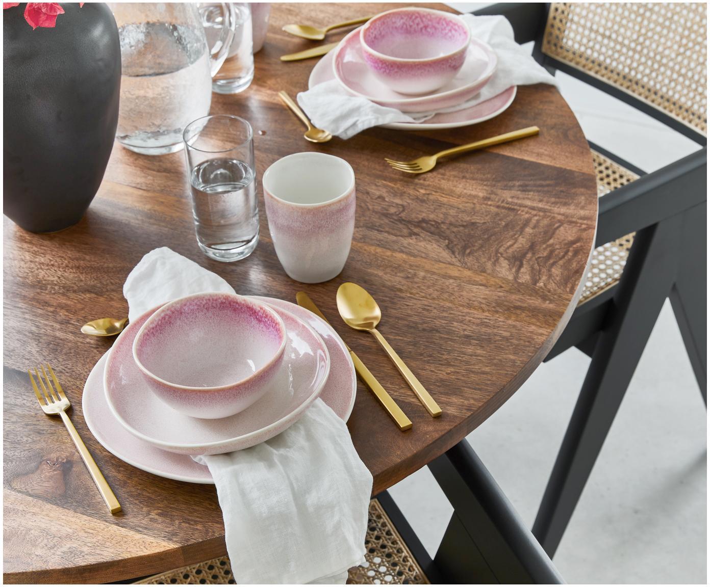 Ręcznie wykonana miska Amalia, 2 szt., Ceramika, Jasny różowy, kremowobiały, Ø 14 x W 7 cm