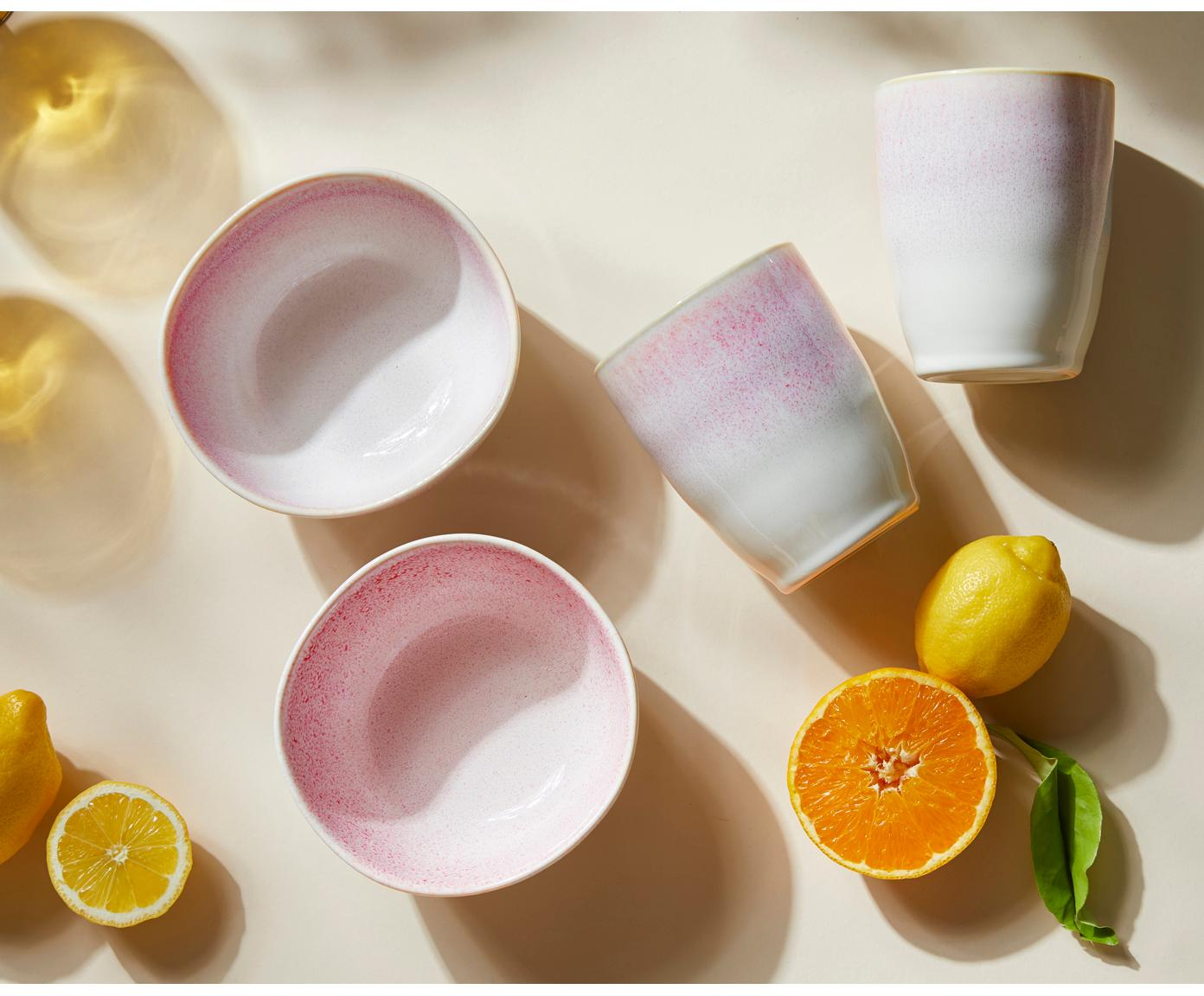 Ciotola fatta a mano Amalia 2 pz, Ceramica, Rosa chiaro, bianco crema, Ø 14 x Alt. 7 cm
