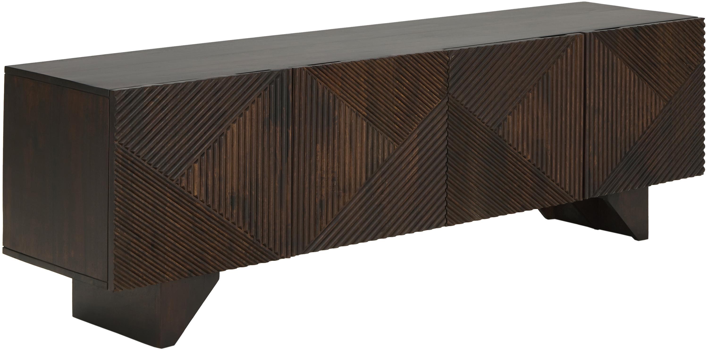 Aparador de madera maciza Louis, Madera de mango maciza pintada, Marrón oscuro, An 180 x Al 55 cm
