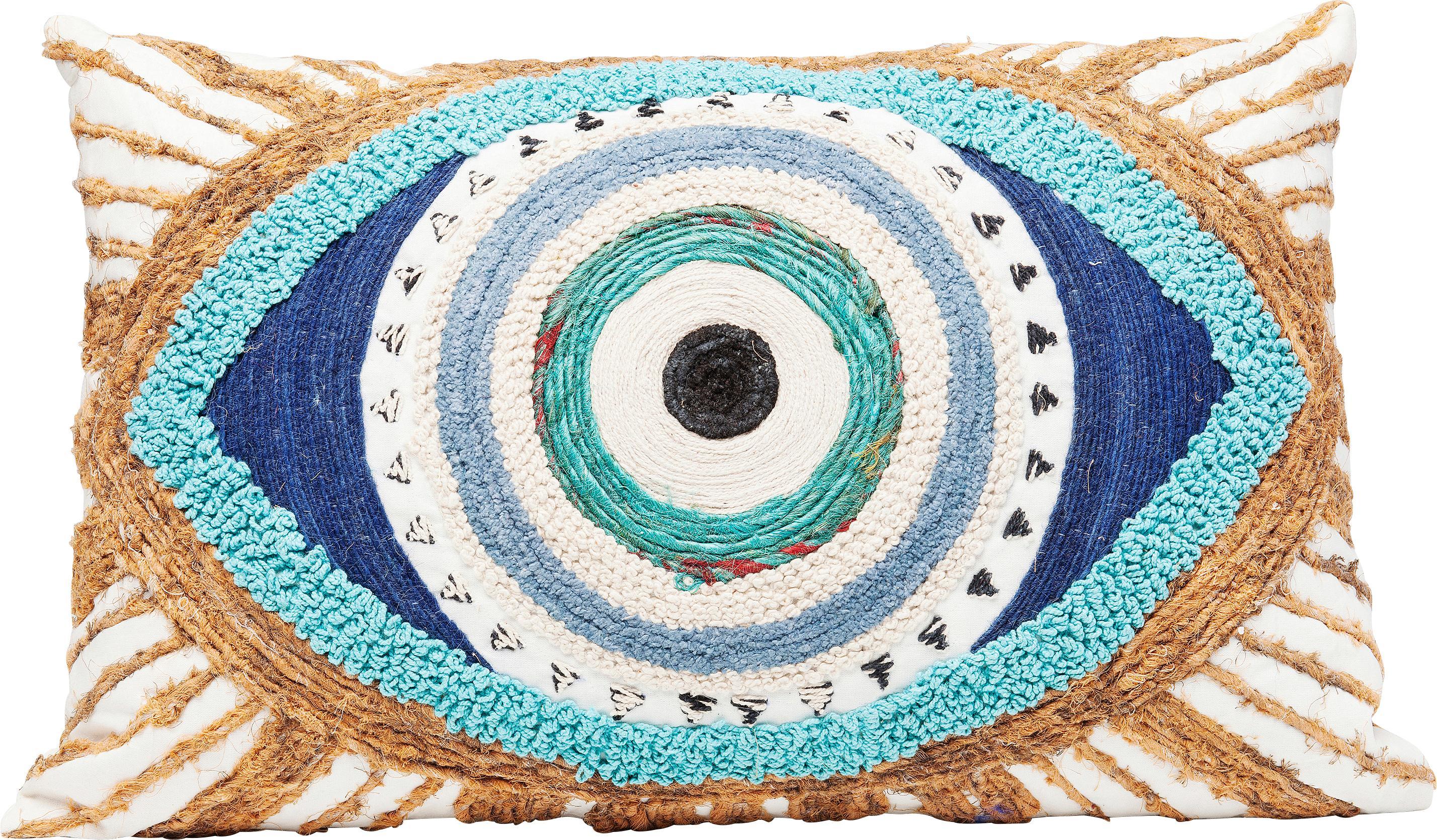 Besticktes Kissen Ethno Eye mit Jute Verzierungen, mit Inlett, Bezug: 100% Baumwolle, Weiß, Beige, Blau, 35 x 55 cm