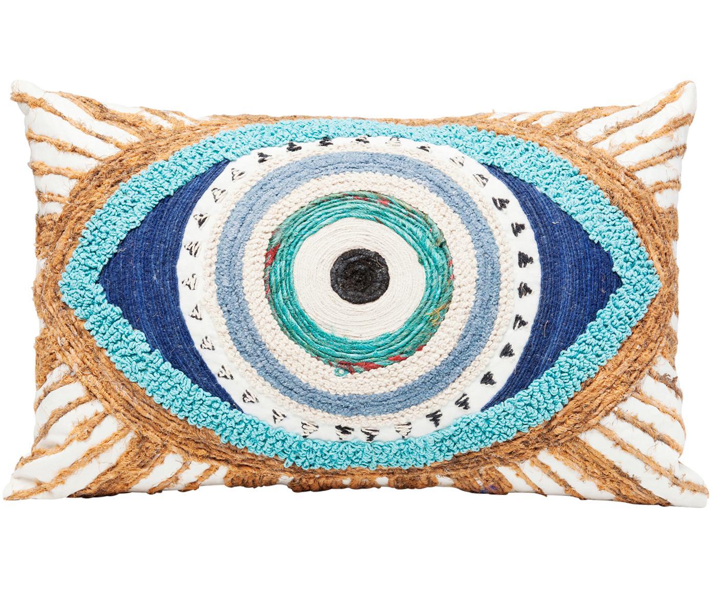 Besticktes Kissen Ethno Eye mit Jute Verzierungen, mit Inlett, Bezug: 100% Baumwolle, Weiss, Beige, Blau, 35 x 55 cm