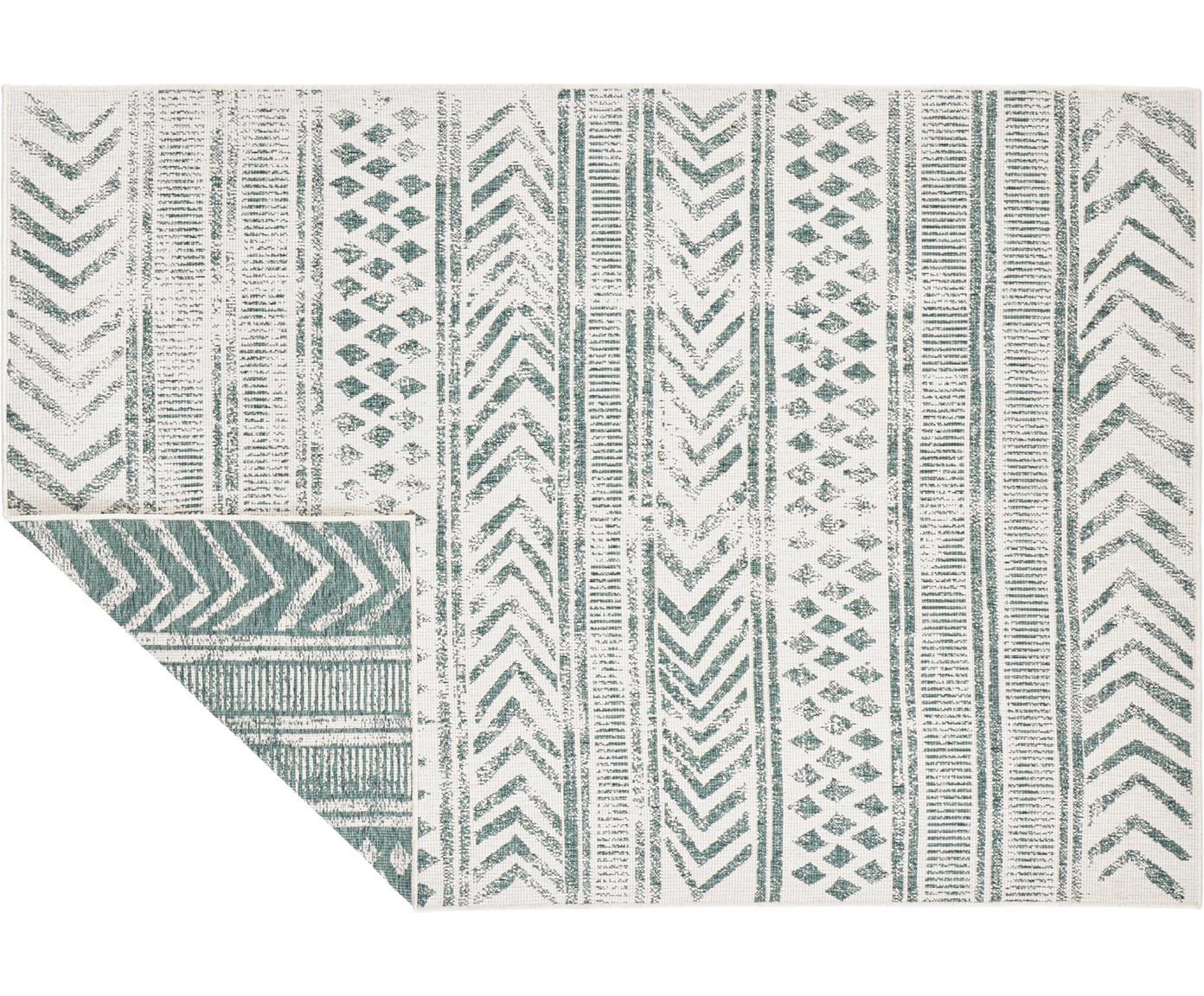Dubbelzijdig in- en outdoor vloerkleed Biri met grafisch patroon, Polypropyleen, Groen, crèmekleurig, B 80 x L 150 cm (maat XS)