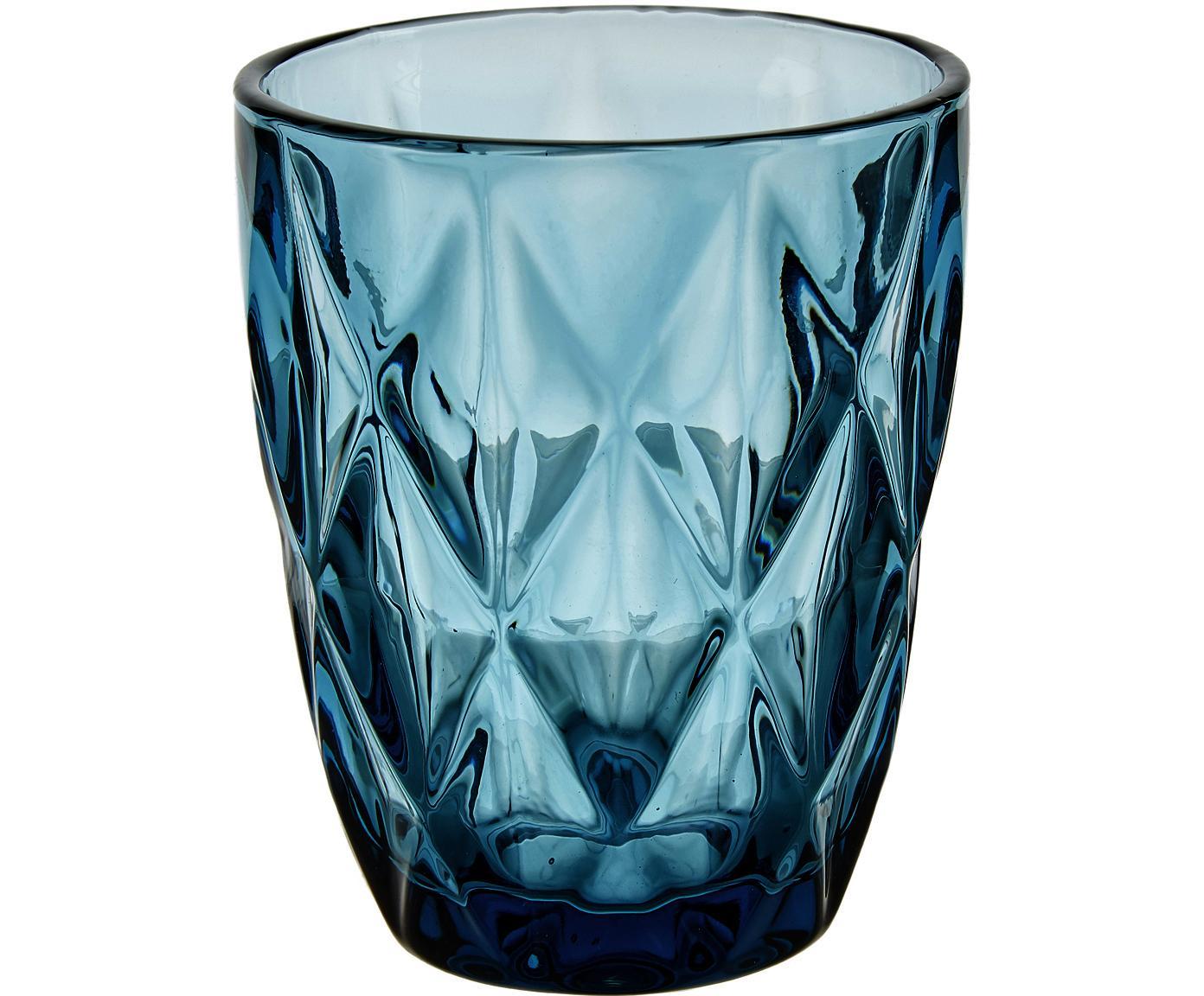 Wassergläser Colorado mit Strukturmuster, 4 Stück, Glas, Blau, Transparent, ∅ 8 x H 10 cm