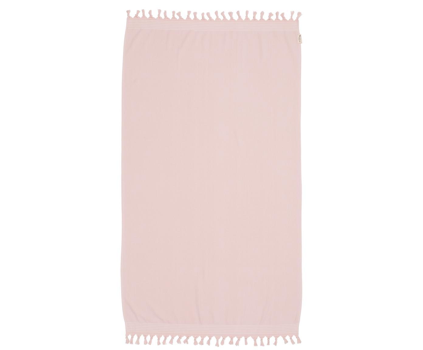 Hamamdoek Soft Cotton met achterzijde van badstof, Roze, wit, 100 x 180 cm
