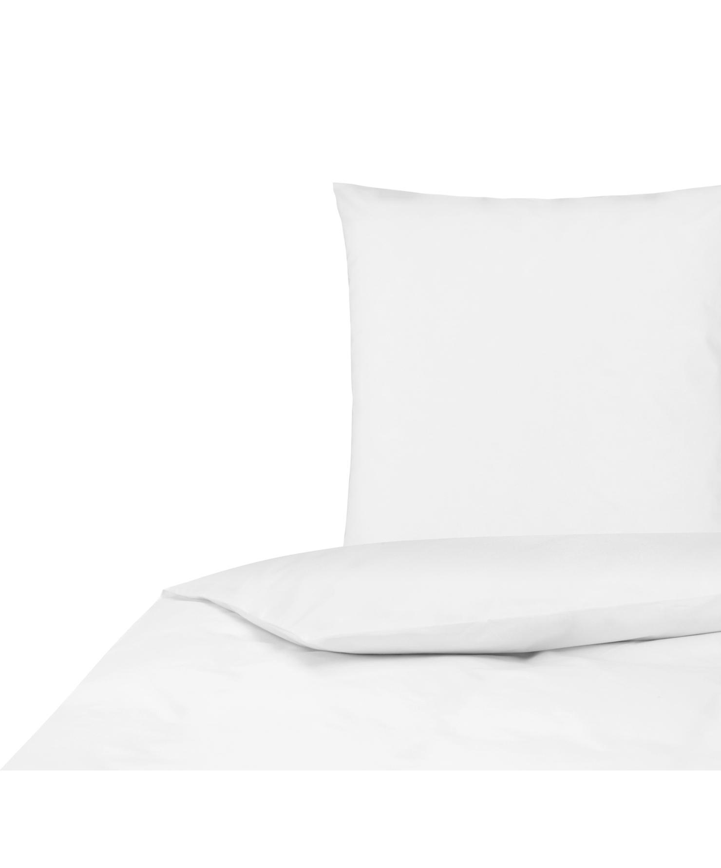 Baumwollperkal-Bettwäsche Elsie in Weiß, Webart: Perkal Fadendichte 200 TC, Weiß, 155 x 220 cm + 1 Kissen 80 x 80 cm