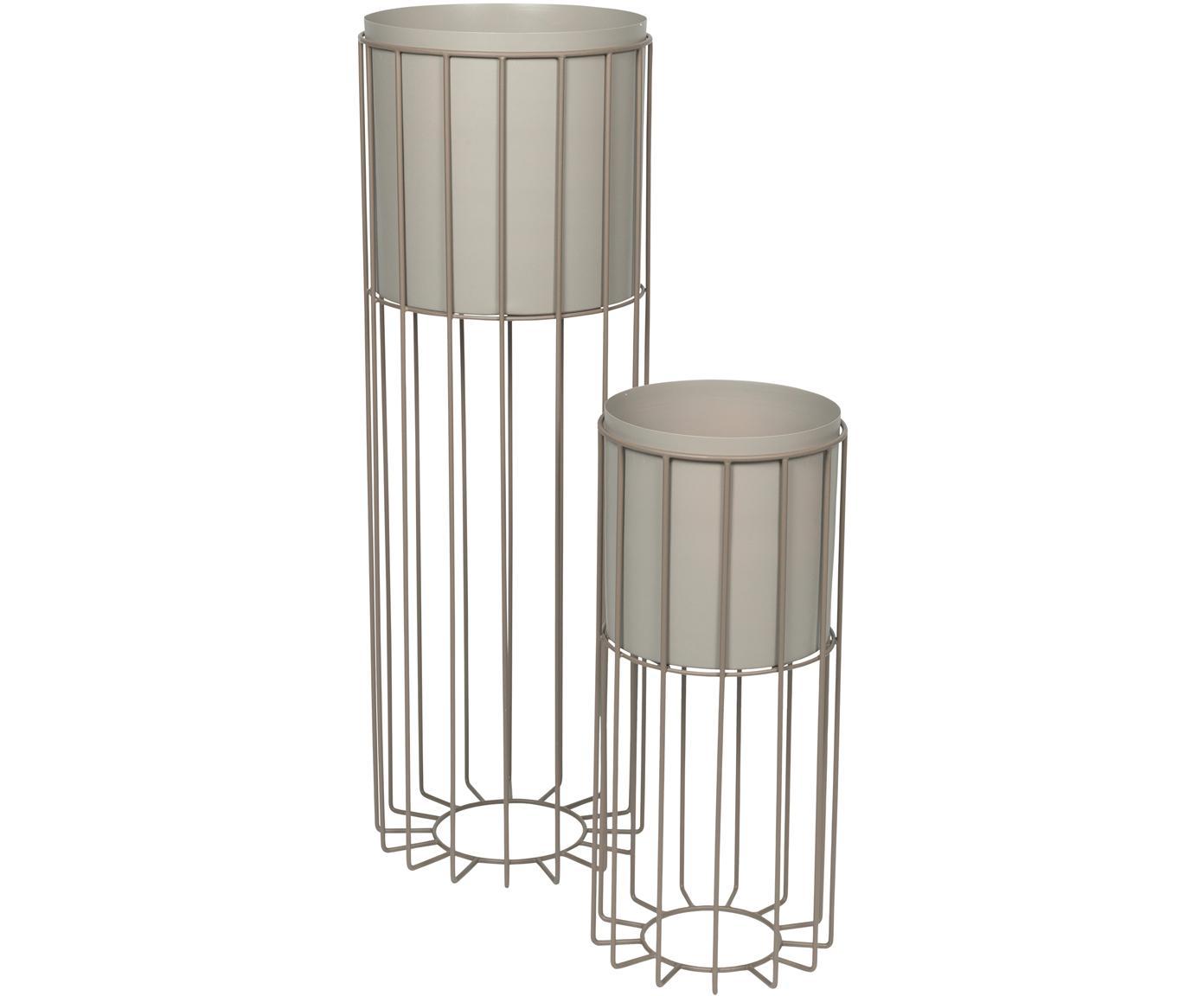 Übertöpfe-Set Fenja, 2-tlg., Metall, beschichtet, Grau, Sondergrößen