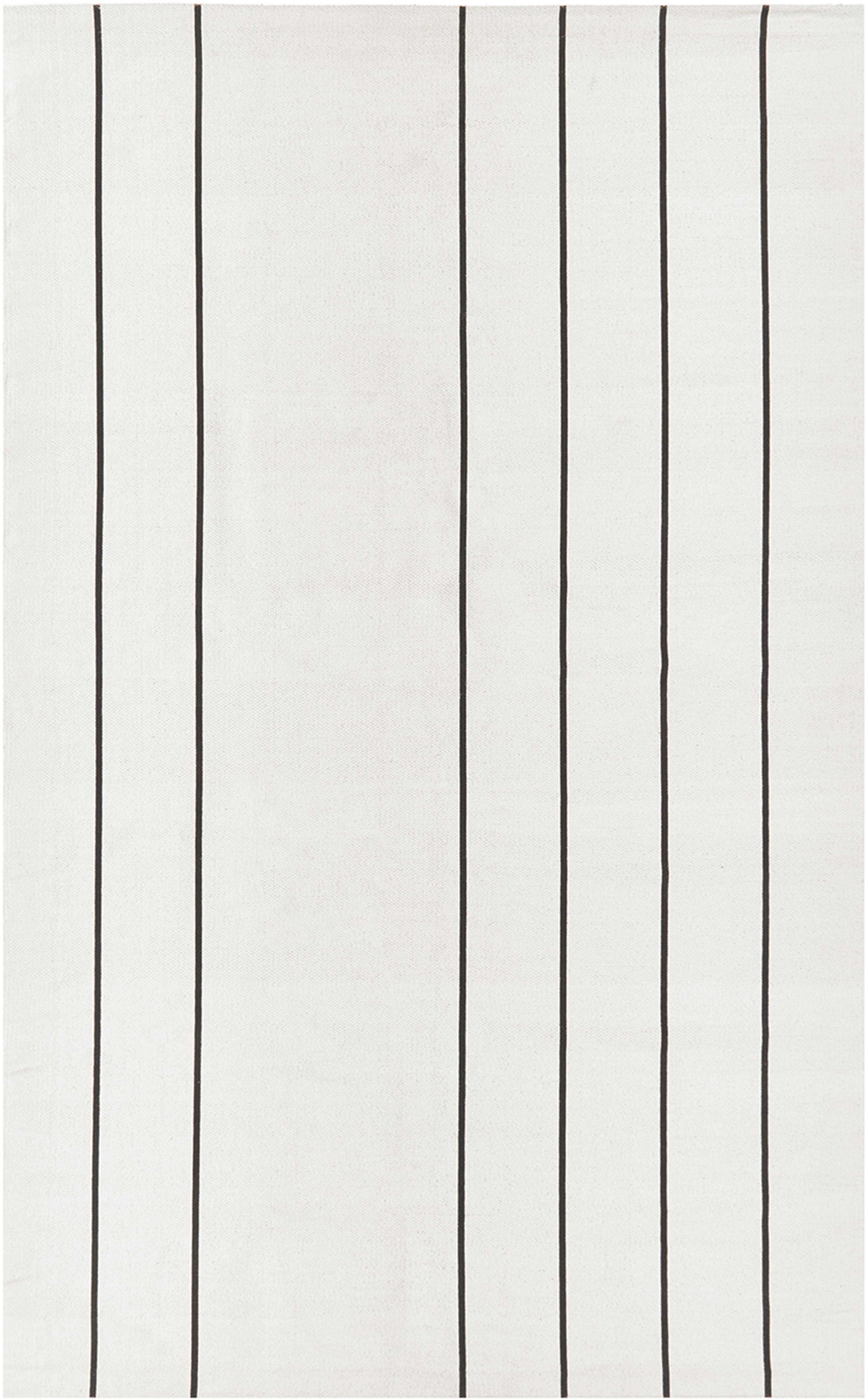 Vlak geweven katoenen vloerkleed David met lijnen, handgemaakt, 100% katoen, Crèmewit, zwart, B 50 x L 80 cm (maat XXS)