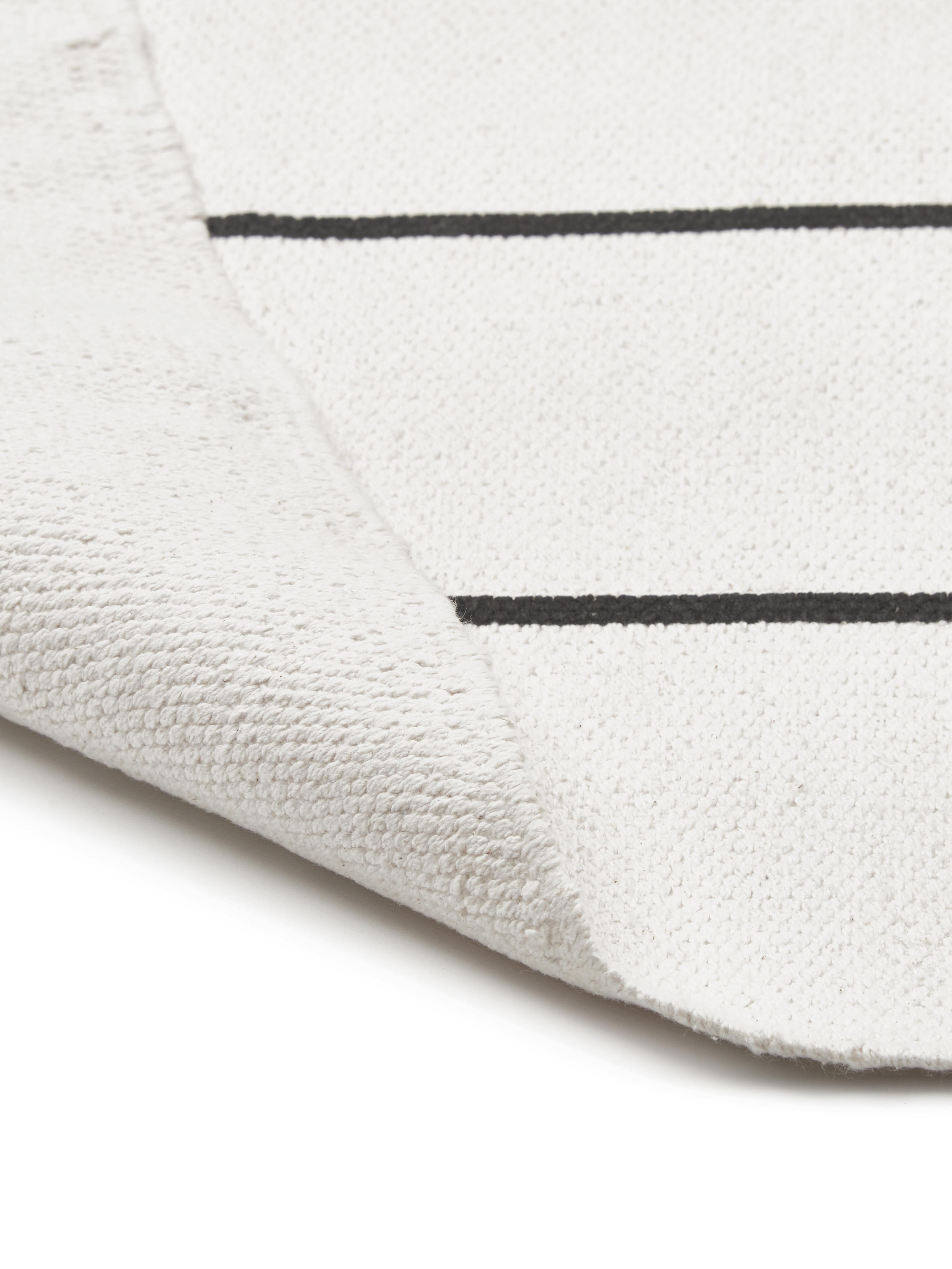 Flachgewebter Baumwollteppich David mit Linien, handgefertigt, 100% Baumwolle, Cremeweiß, Schwarz, B 200 x L 300 cm (Größe L)