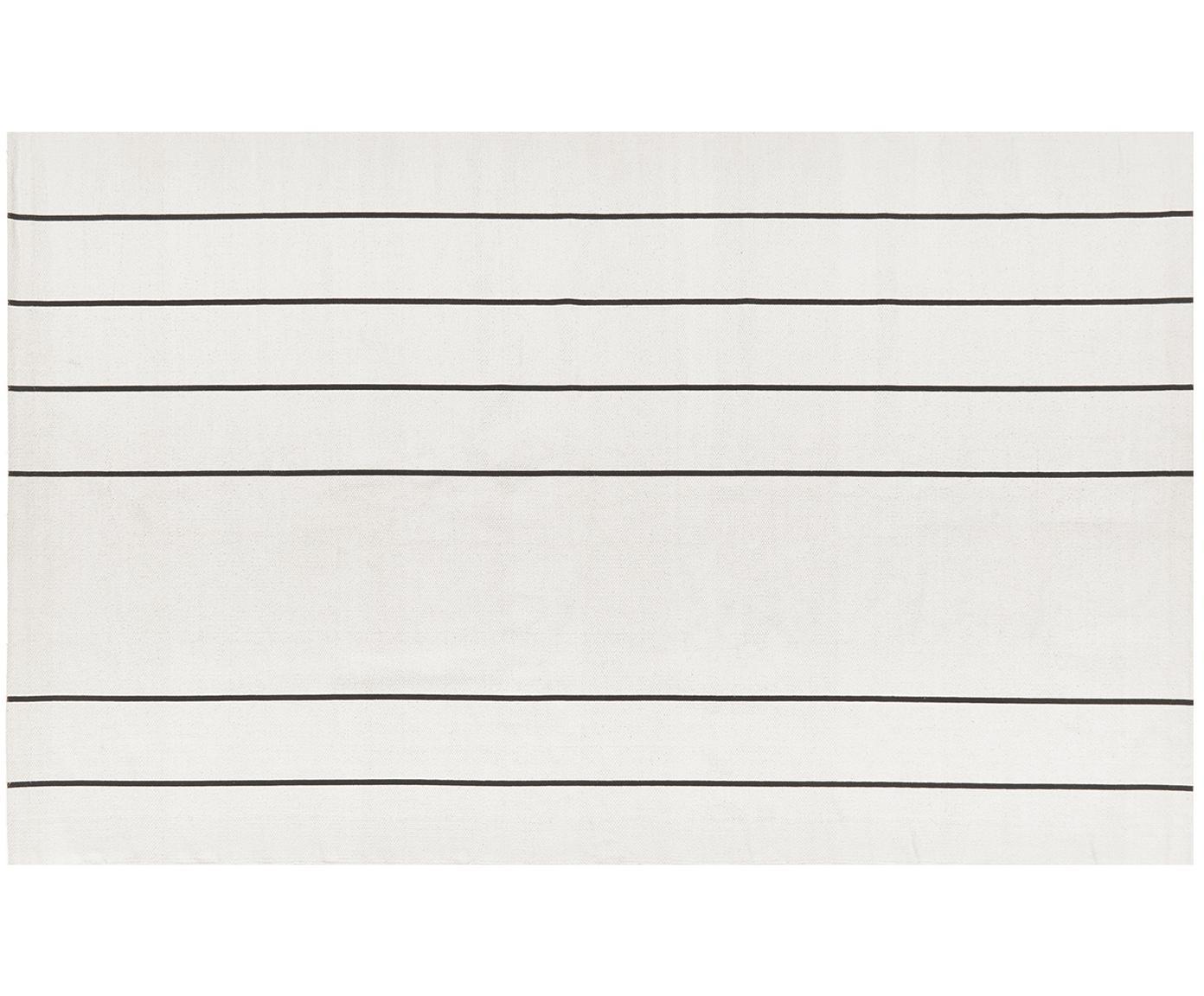 Flachgewebter Baumwollteppich David mit Linien, handgefertigt, 100% Baumwolle, Cremeweiß, Schwarz, B 50 x L 80 cm (Größe XXS)