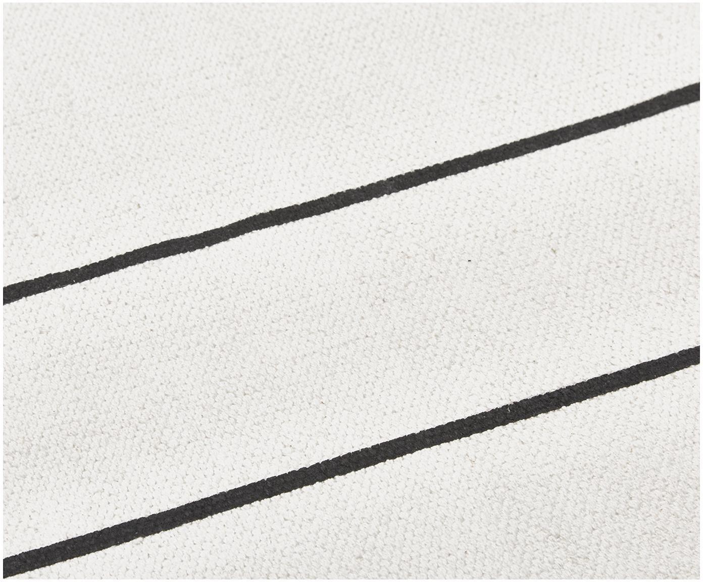 Na plocho tkaný ručně vyrobený bavlněný koberec David, Krémově bílá, černá