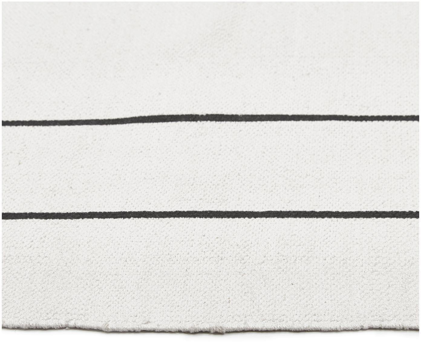 Vlak geweven katoenen vloerkleed David met lijnen, handgemaakt, Katoen, Crèmewit, zwart, B 160 x L 230 cm (maat M)