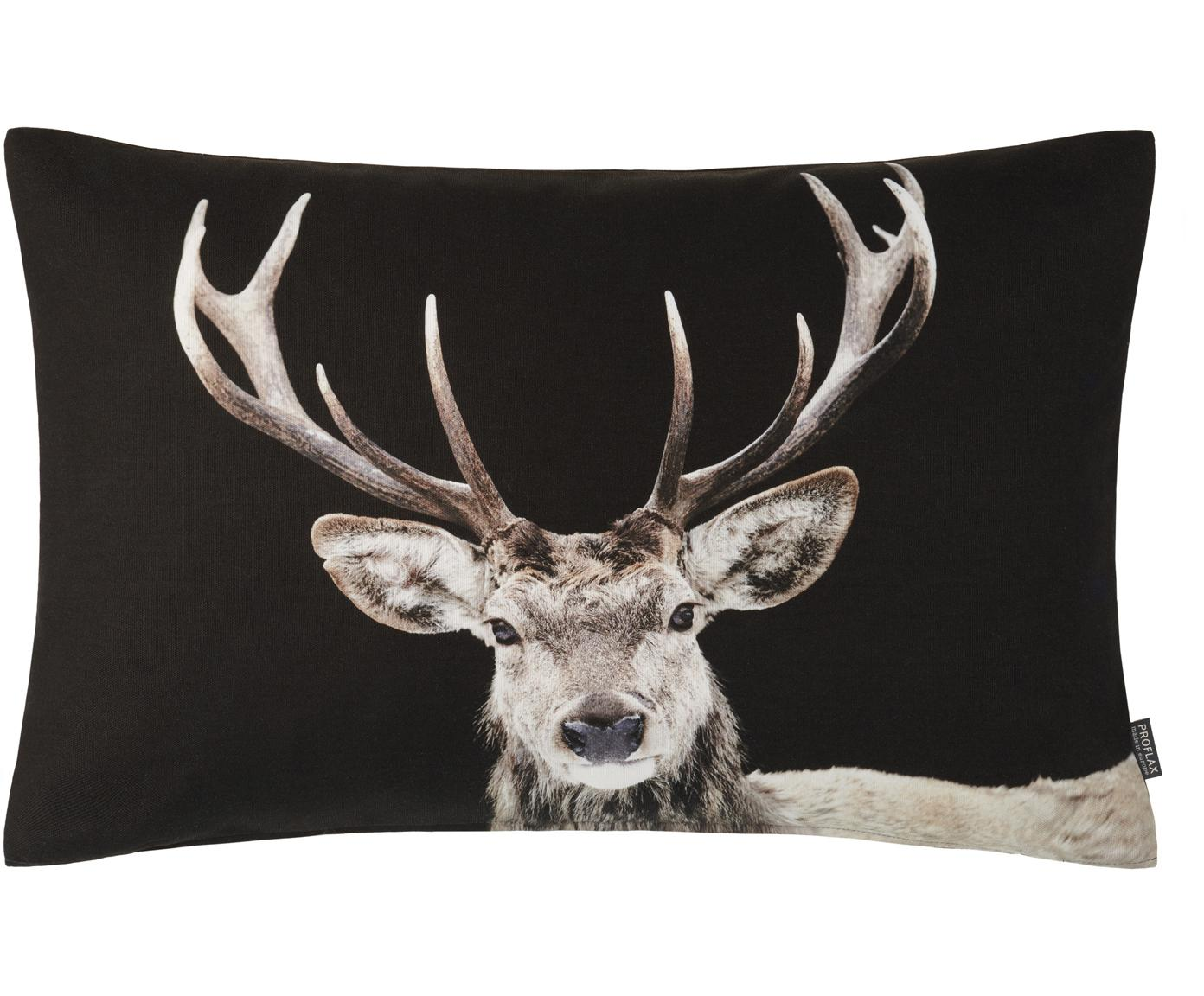 Povlak na polštář s motivem jelena Pavel, Černá, odstíny béžové