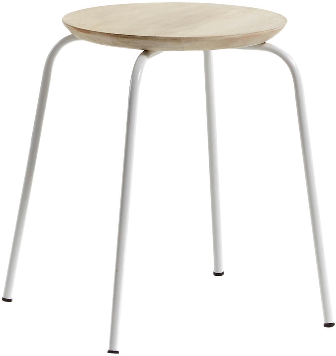 Sgabello impilabile Ren, Seduta: legno di mango naturale, Gambe: metallo verniciato, Legno di mango, bianco, Ø 40 x Alt. 45 cm