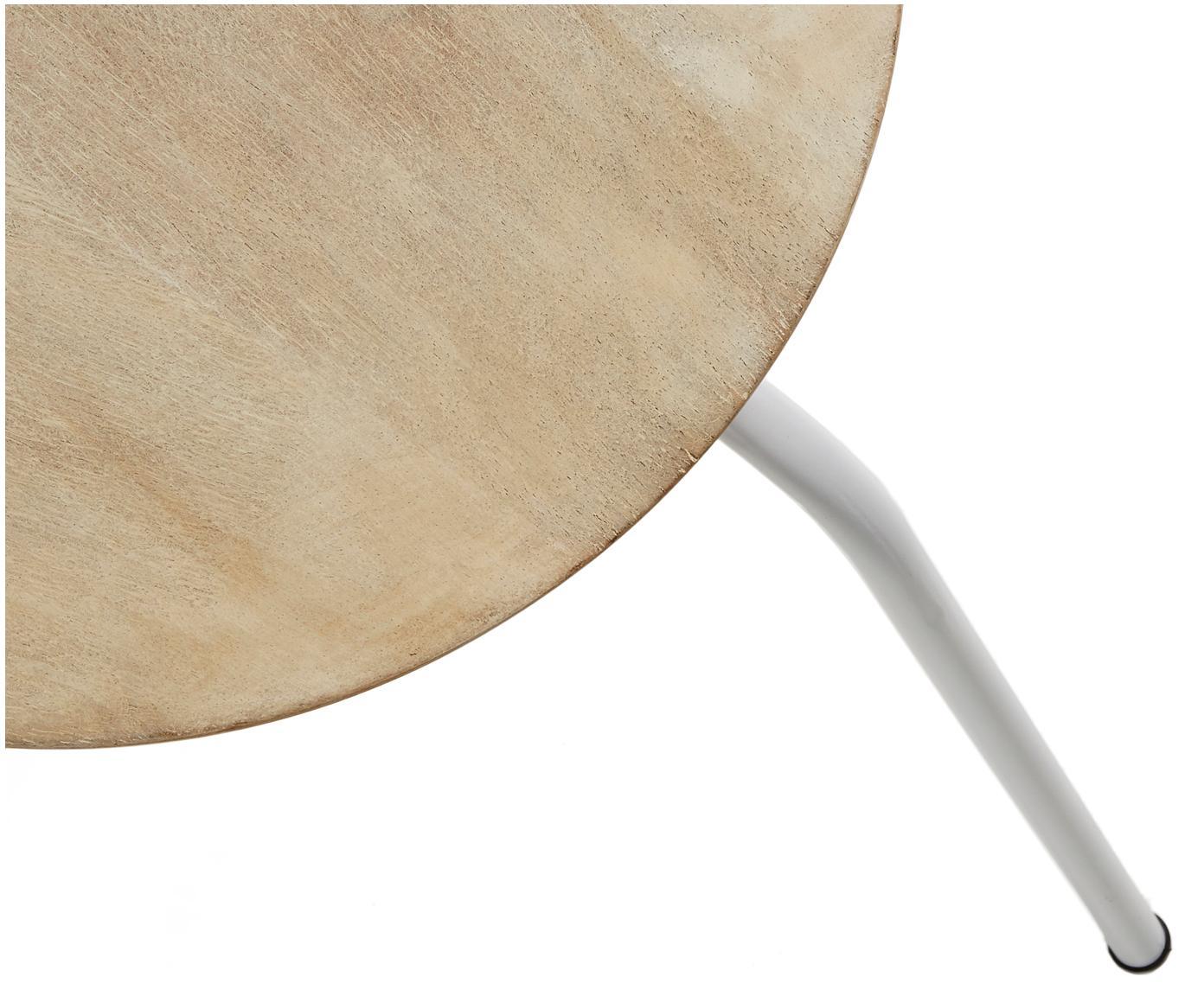 Hocker Ren, stapelbar, Sitzfläche: Mangoholz, naturbelassen, Beine: Metall, lackiert, Mangoholz, Weiß, Ø 40 x H 45 cm