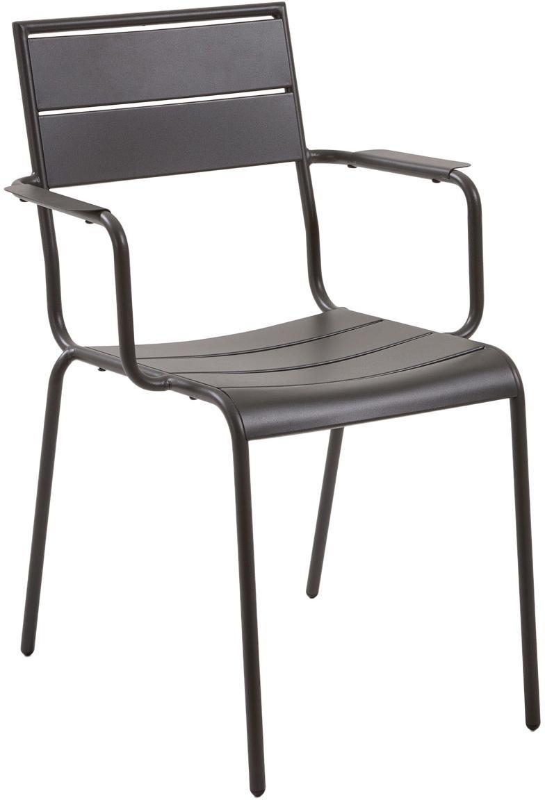 Sedia da giardino in metallo Allegian, Metallo verniciato a polvere, Grigio scuro, Larg. 59 x Prof. 65 cm