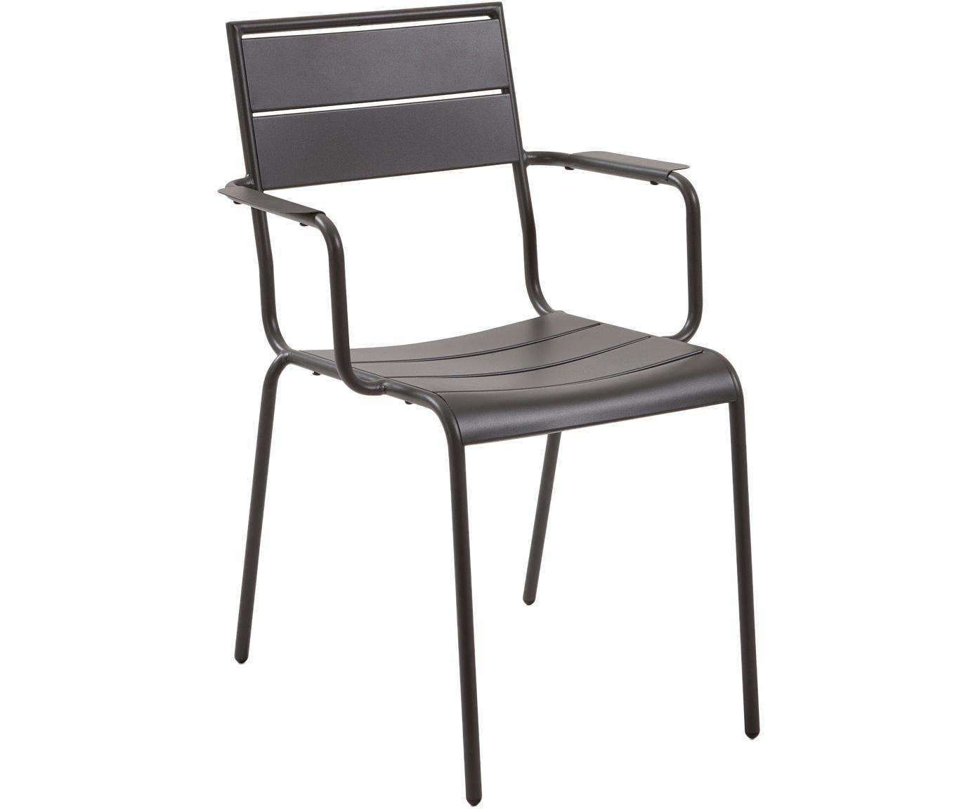 Balkon-Armlehnstuhl Allegian aus Metall, Metall, pulverbeschichtet, Dunkelgrau, B 59 x T 65 cm