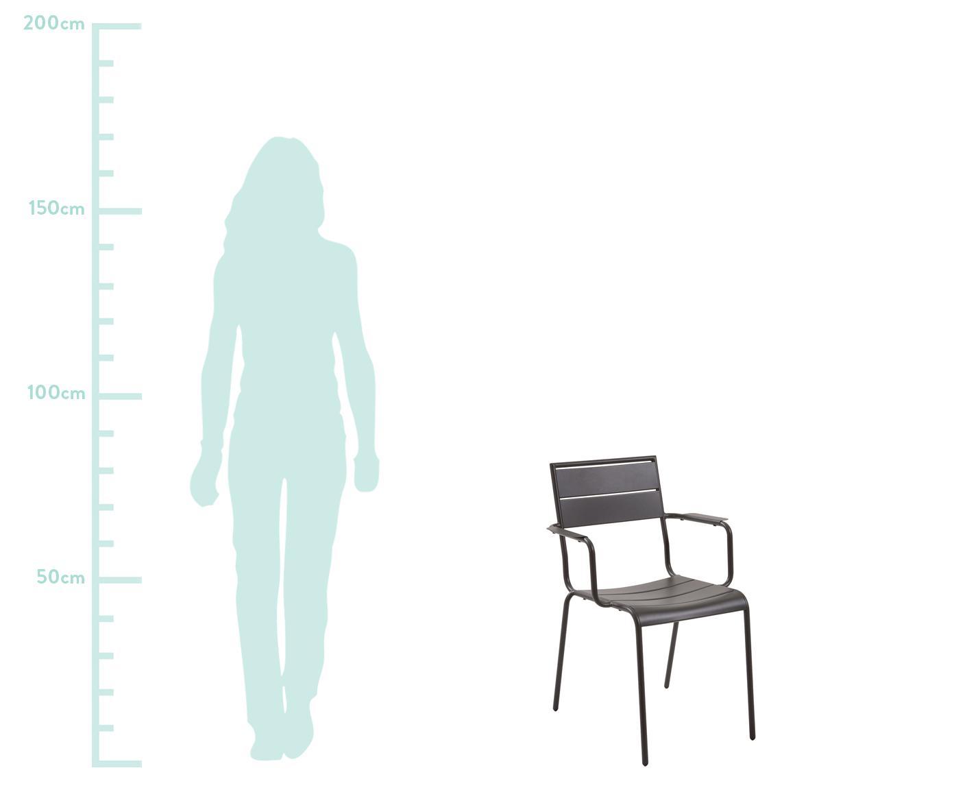 Krzesło balkonowe z metalu Allegian, Metal malowany proszkowo, Ciemny szary, S 59 x G 65 cm