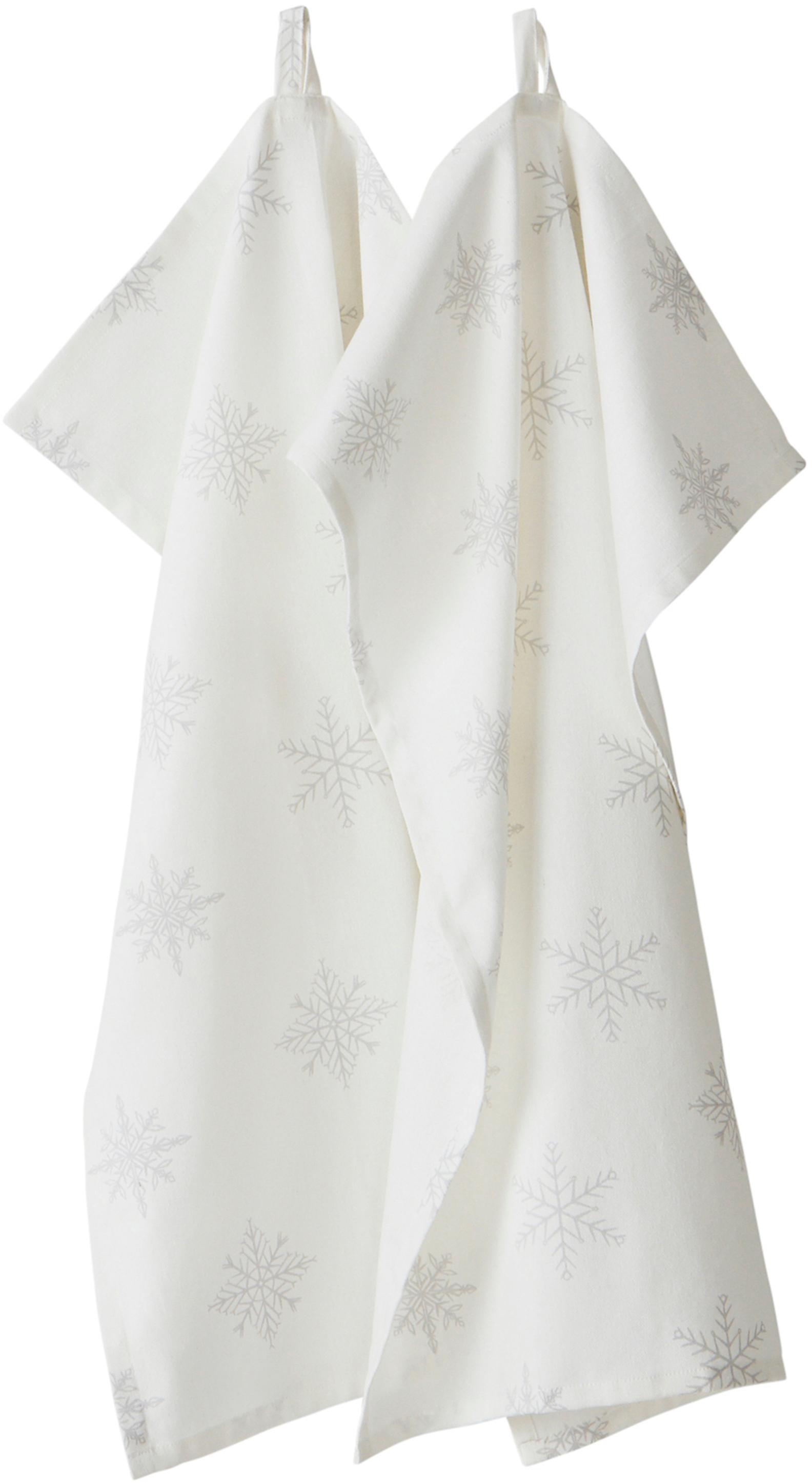 Theedoeken Snow, 2 stuks, 100% katoen, afkomstig van duurzame katoenteelt, Crèmewit, lichtgrijs, 50 x 70 cm