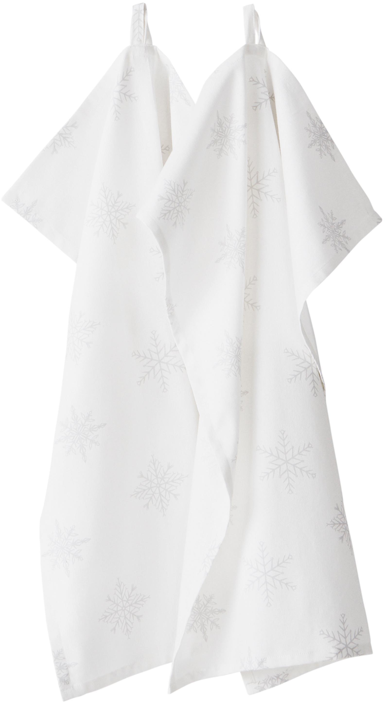 Paños de cocina Snow, 2uds., 100%algodón de cultivos sostenible de algodón, Blanco crema, gris claro, An 50 x L 70 cm