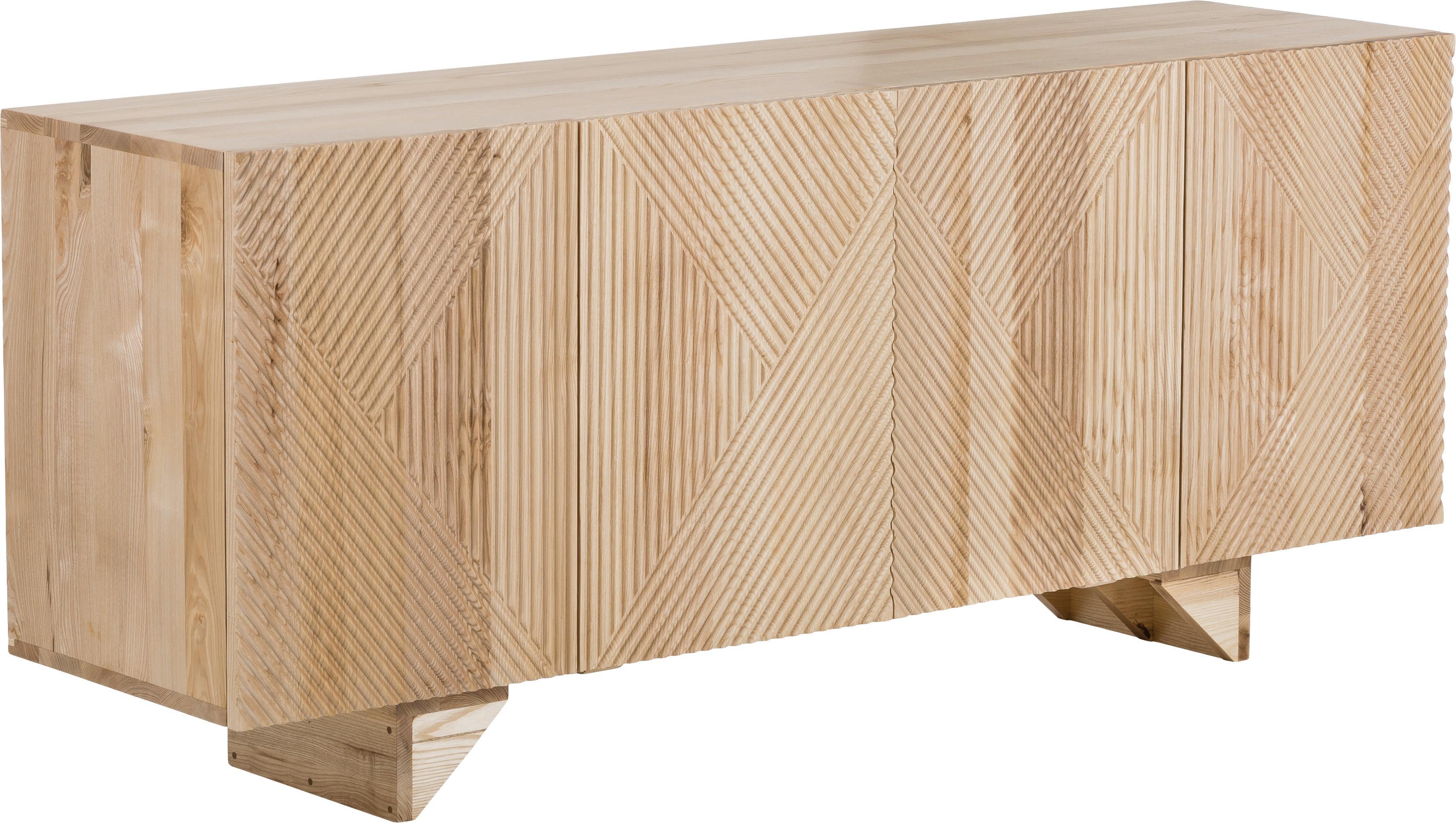 Aparador de madera maciza Louis, Madera de mango maciza, pintado, Madera de fresno, An 177 x Al 75 cm