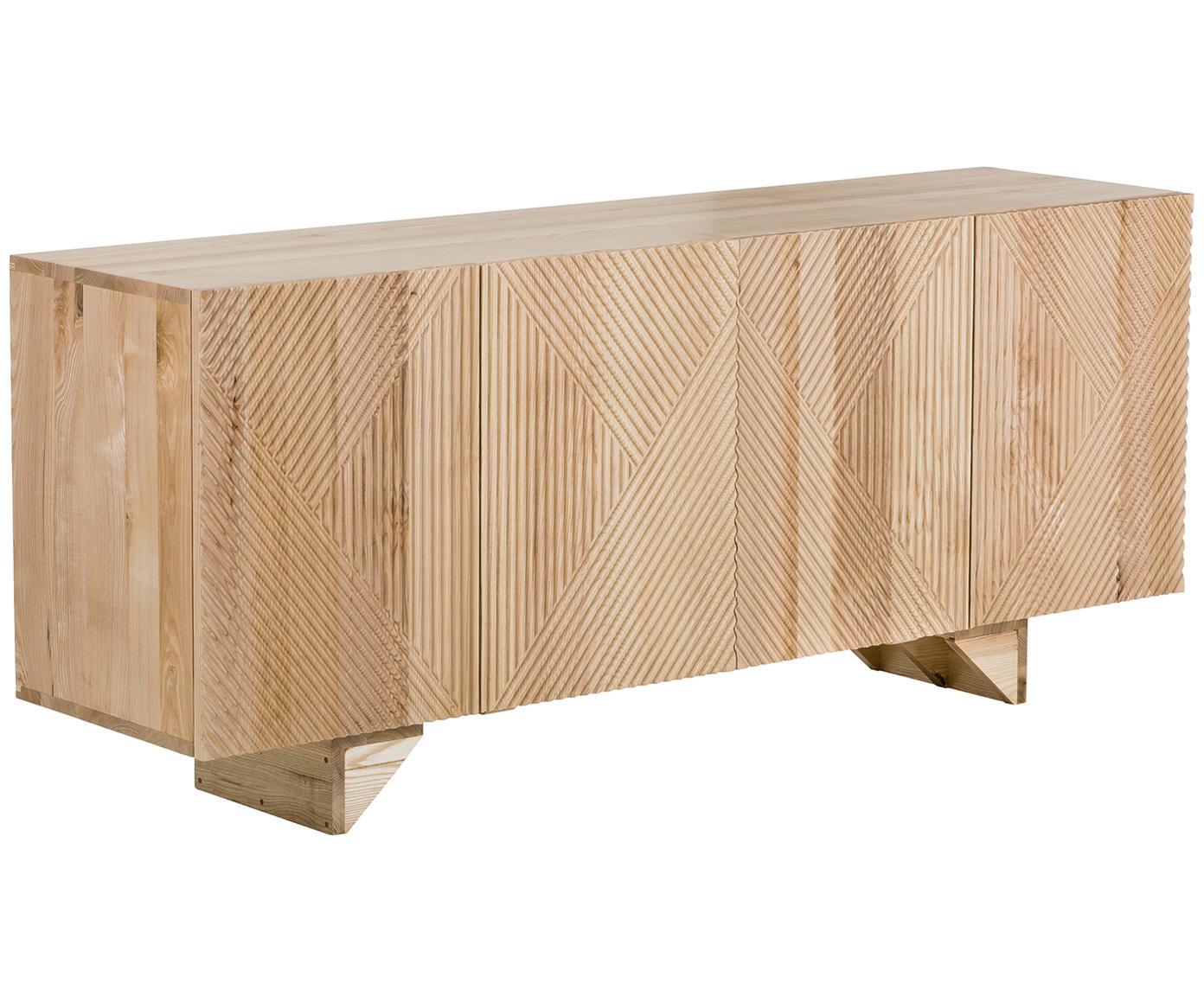 Sideboard Louis aus Massivholz, Massives Mangoholz, lackiert, Eschenholz, 177 x 75 cm
