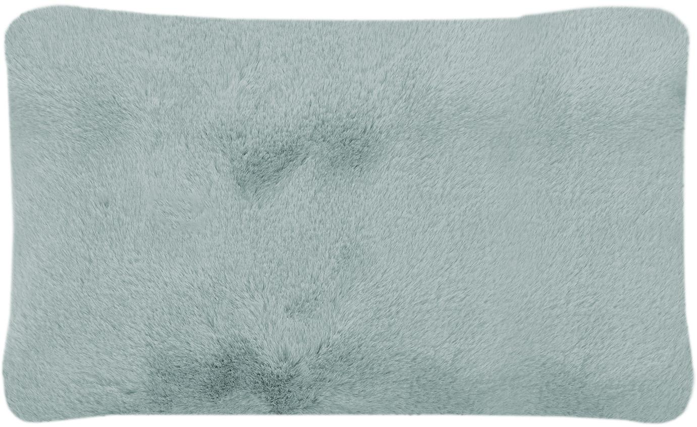 Federa arredo in pelliccia sintetica Mette, Retro: 100% poliestere, Verde, Larg. 30 x Lung. 50 cm
