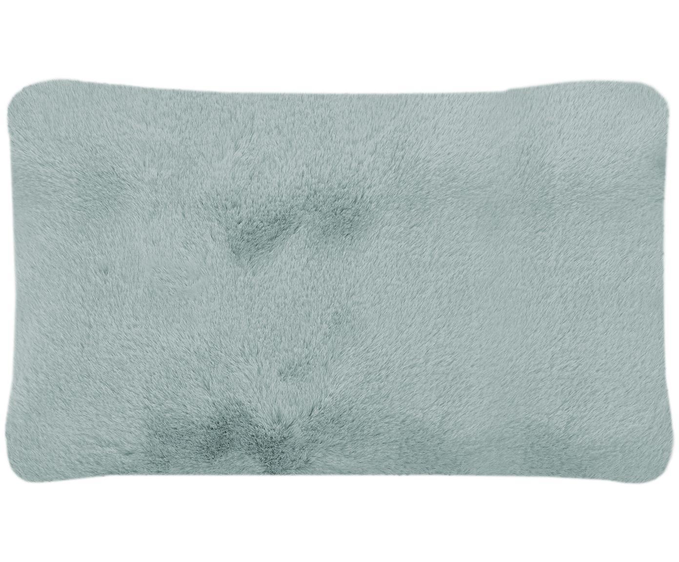 Sehr flauschige Kunstfell-Kissenhülle Mette, glatt, Vorderseite: 100% Polyester, Rückseite: 100% Polyester, Grün, 30 x 50 cm