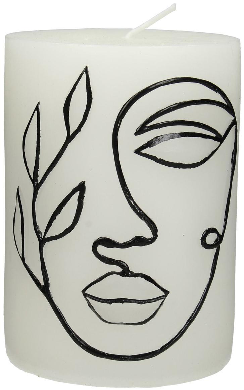 Stumpenkerze Face, Wachs, Weiß, Schwarz, Ø 8 x H 10 cm