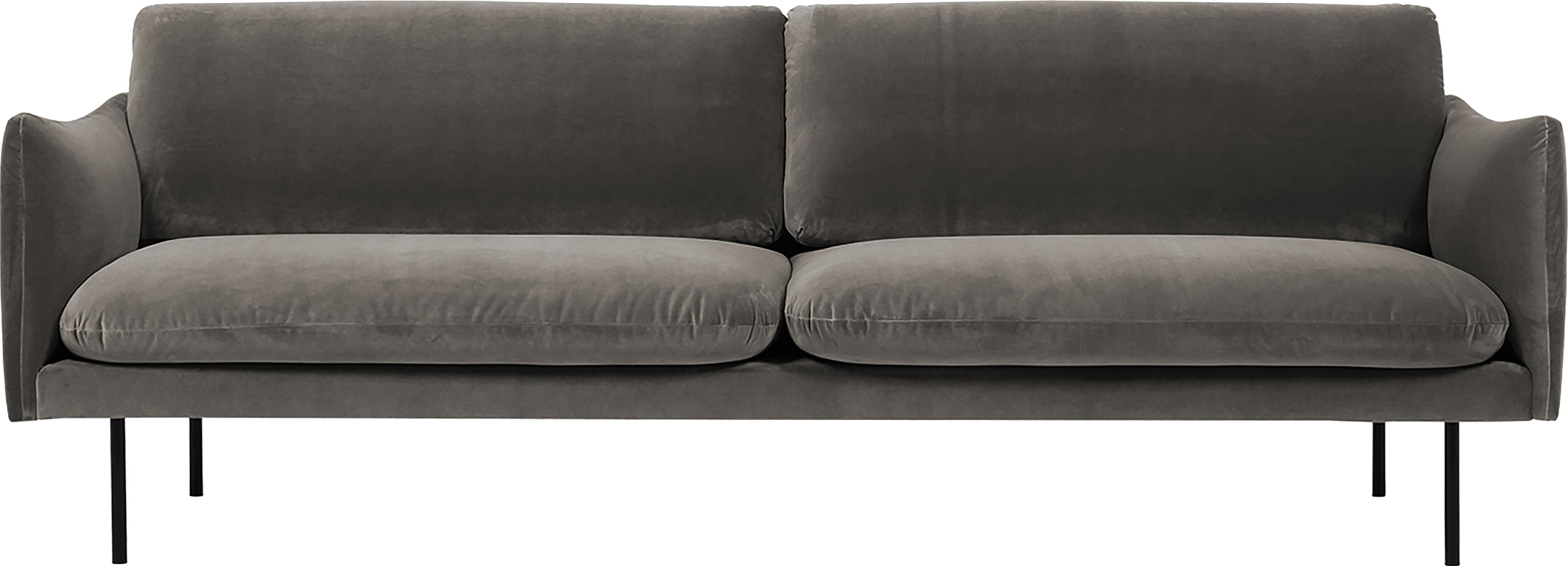 Fluwelen bank Moby (3-zits), Bekleding: fluweel (hoogwaardige pol, Frame: massief grenenhout, Poten: gepoedercoat metaal, Bruin, B 220 x D 95 cm