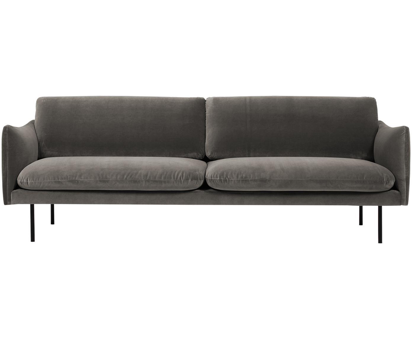 Sofa z aksamitu Moby (3-osobowa), Tapicerka: aksamit (wysokiej jakości, Stelaż: lite drewno sosnowe, Nogi: metal malowany proszkowo, Aksamitny szarobrązowy, S 220 x G 95 cm