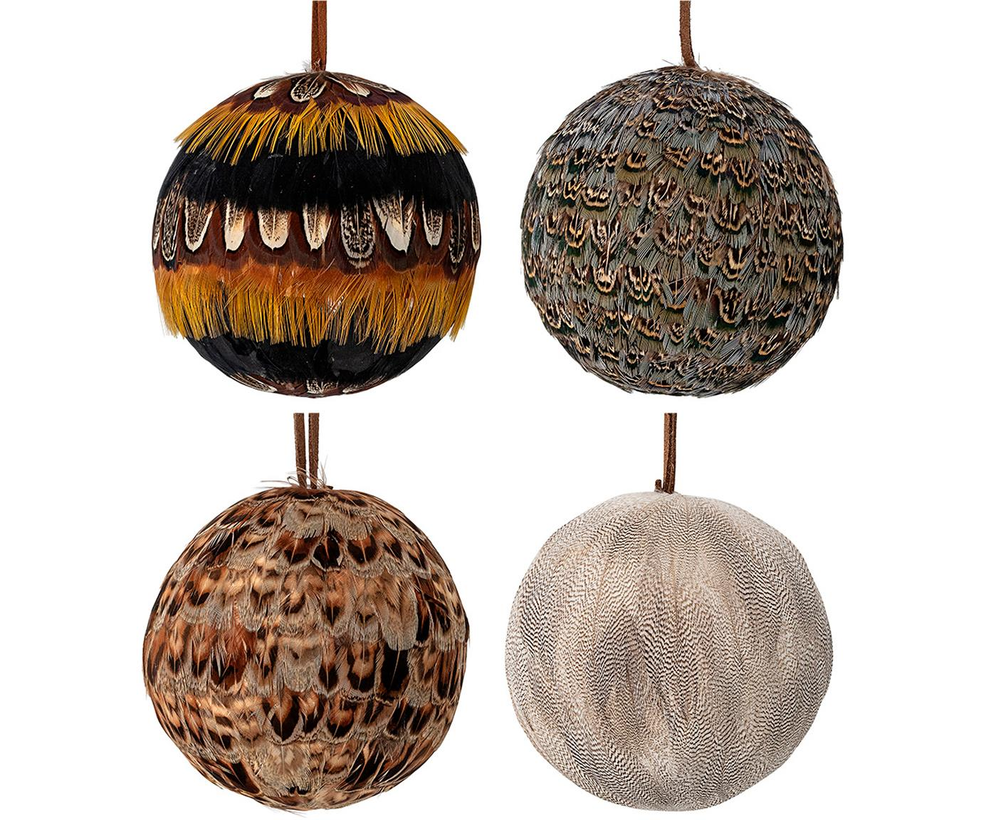 Kerstballenset Feather, 4-delig, Piepschuim, veren, Multicolour, Ø 9 cm