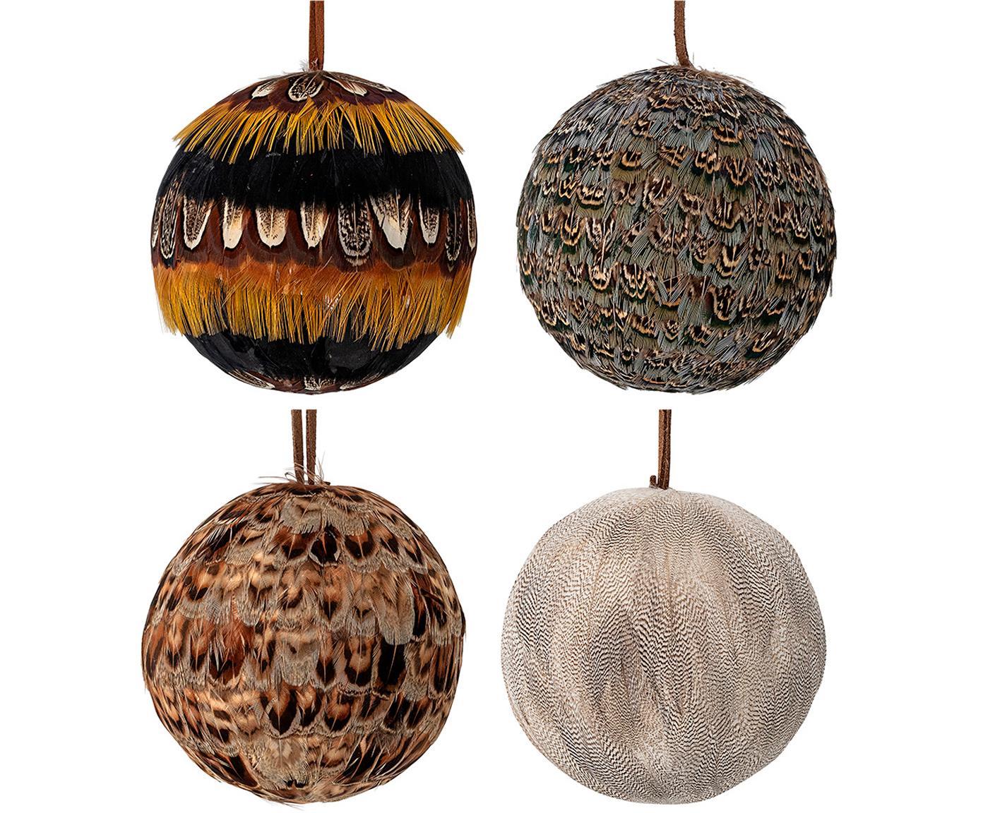 Weihnachtskugel-Set Feather Ø9cm, 4-tlg., Polystyrol, Federn, Mehrfarbig, Ø 9 cm